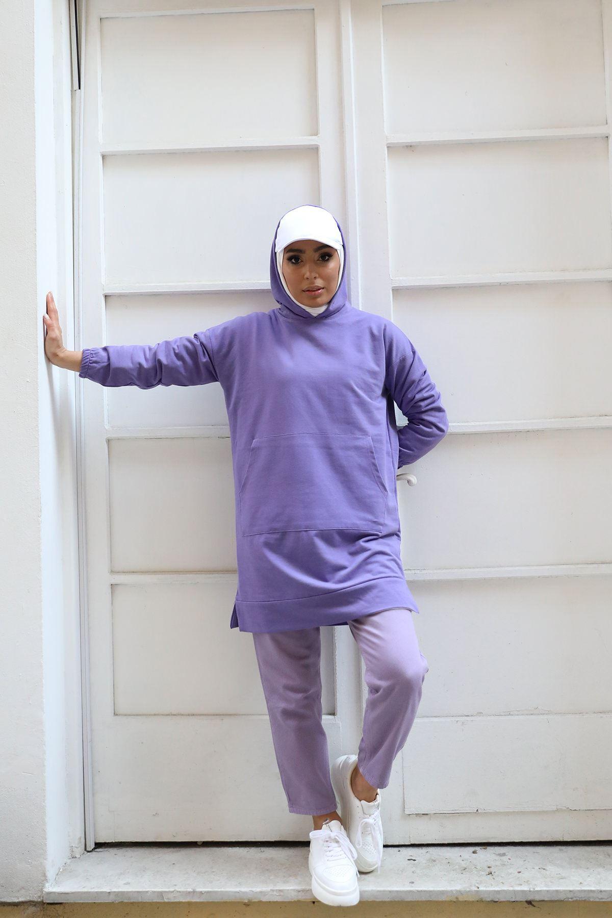 Cep Detay Kapşonlu Sweatshirt-Lila