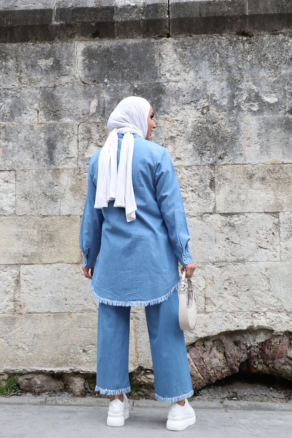 Beli Lastikli Püsküllü Pantolon-Mavi