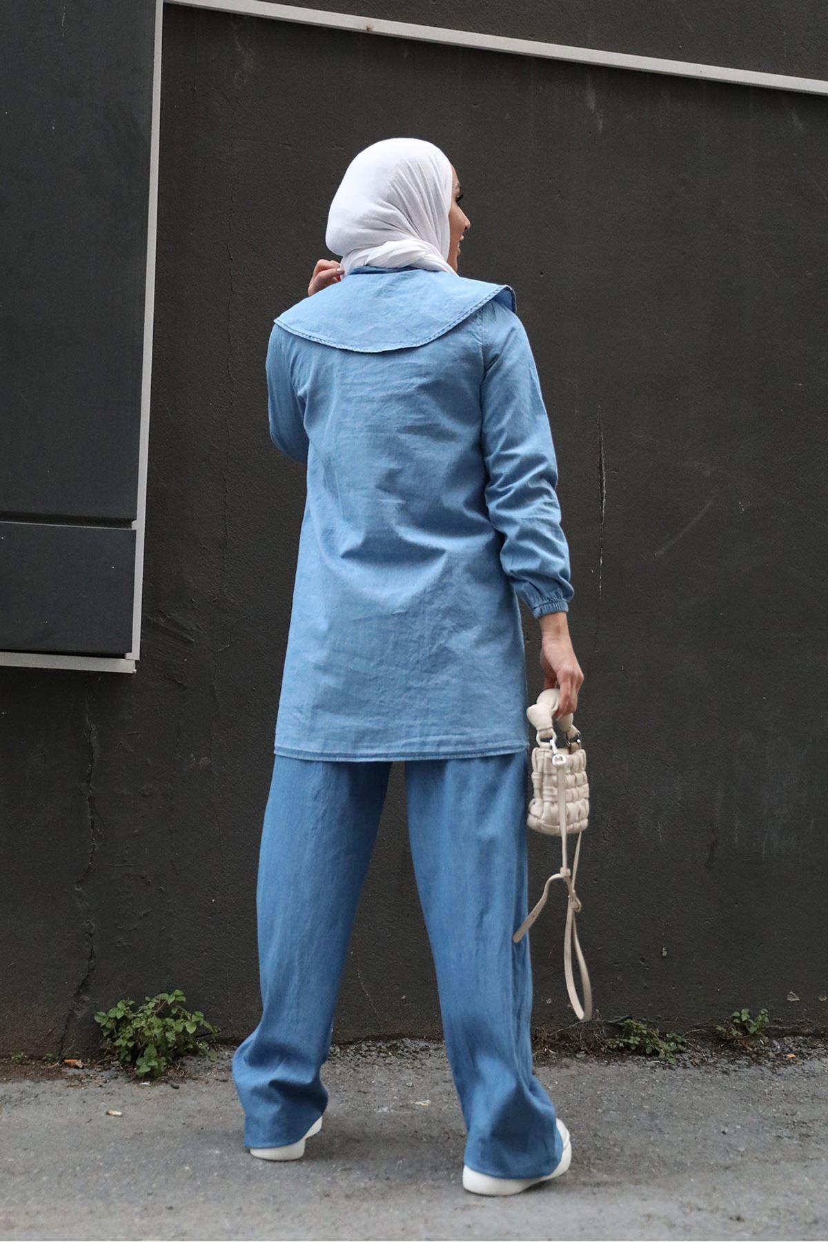 Retro Palazzo Jeans-Blue