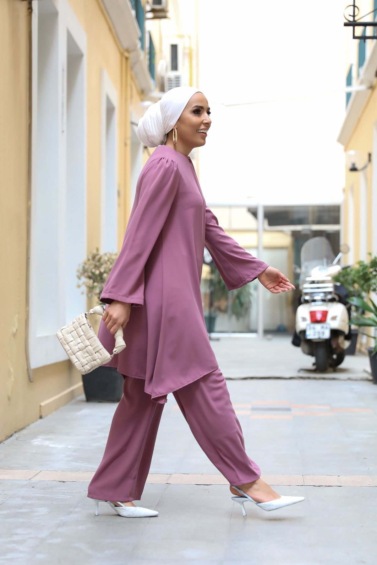 Belted Double Suit-Dried Rose