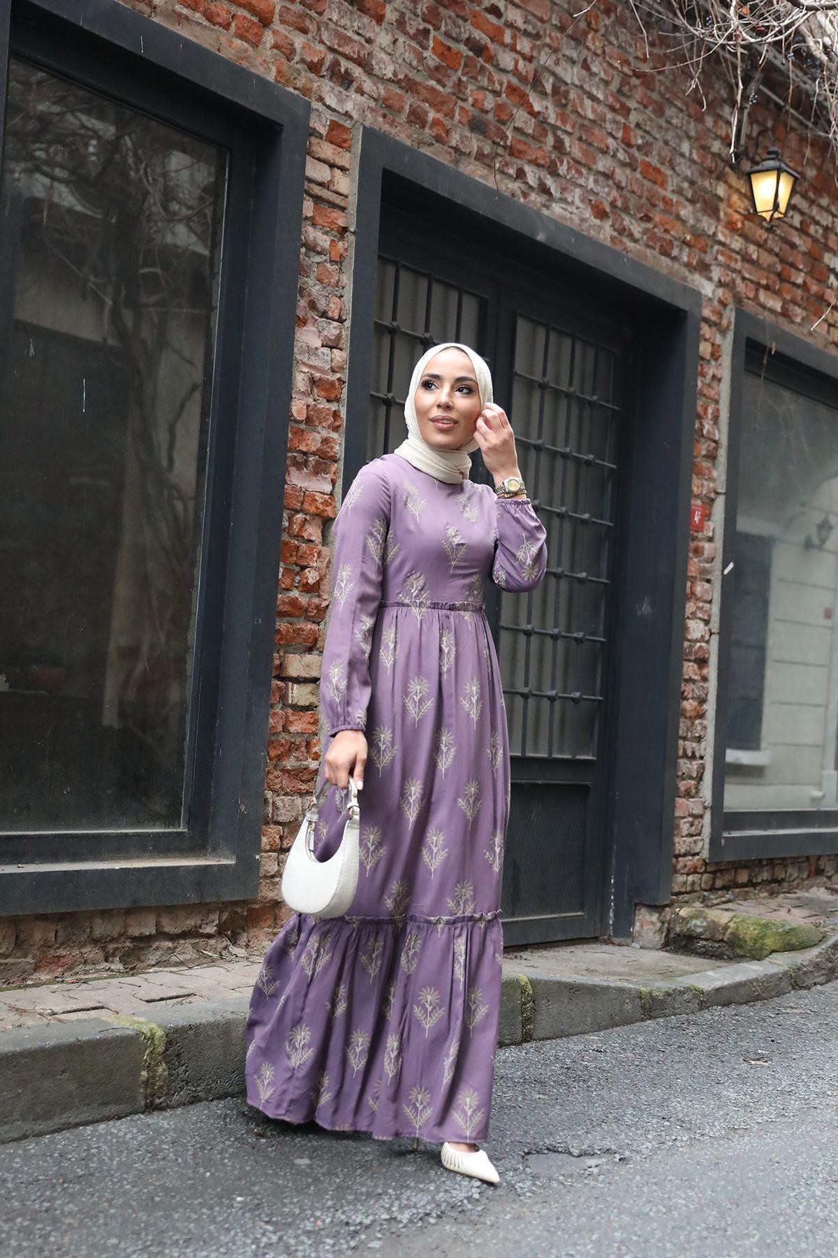 Büzgü Detay Desenli Elbise-Lila