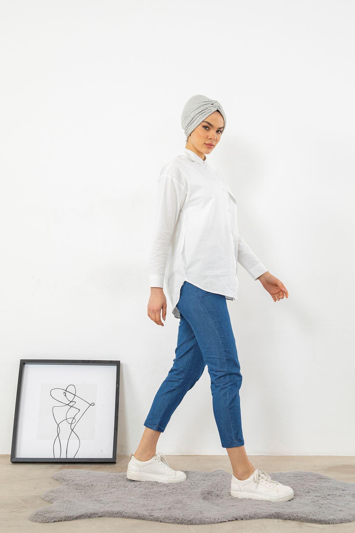 Paça Katlamalı Pantolon-Koyu Mavi