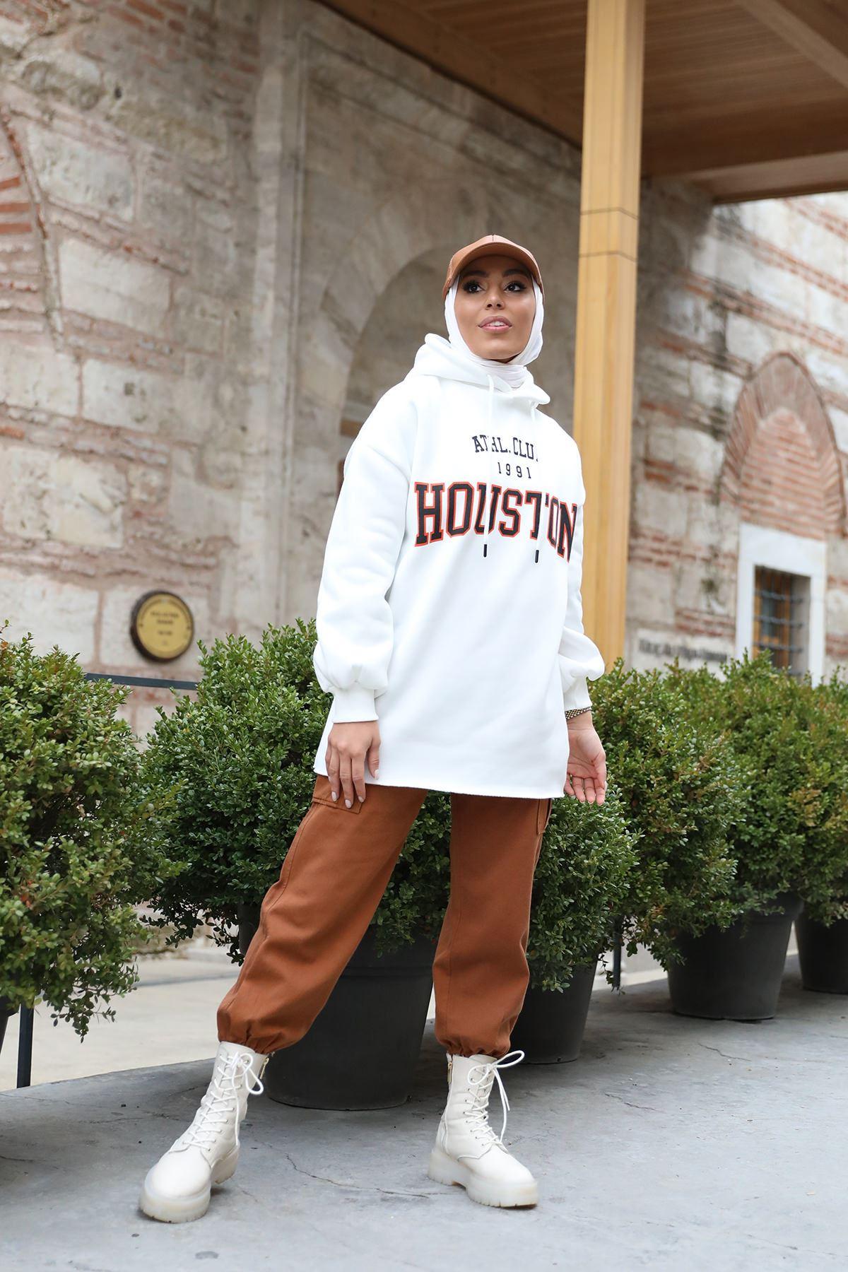 Houston Baskılı Sweatshirt-Ekru