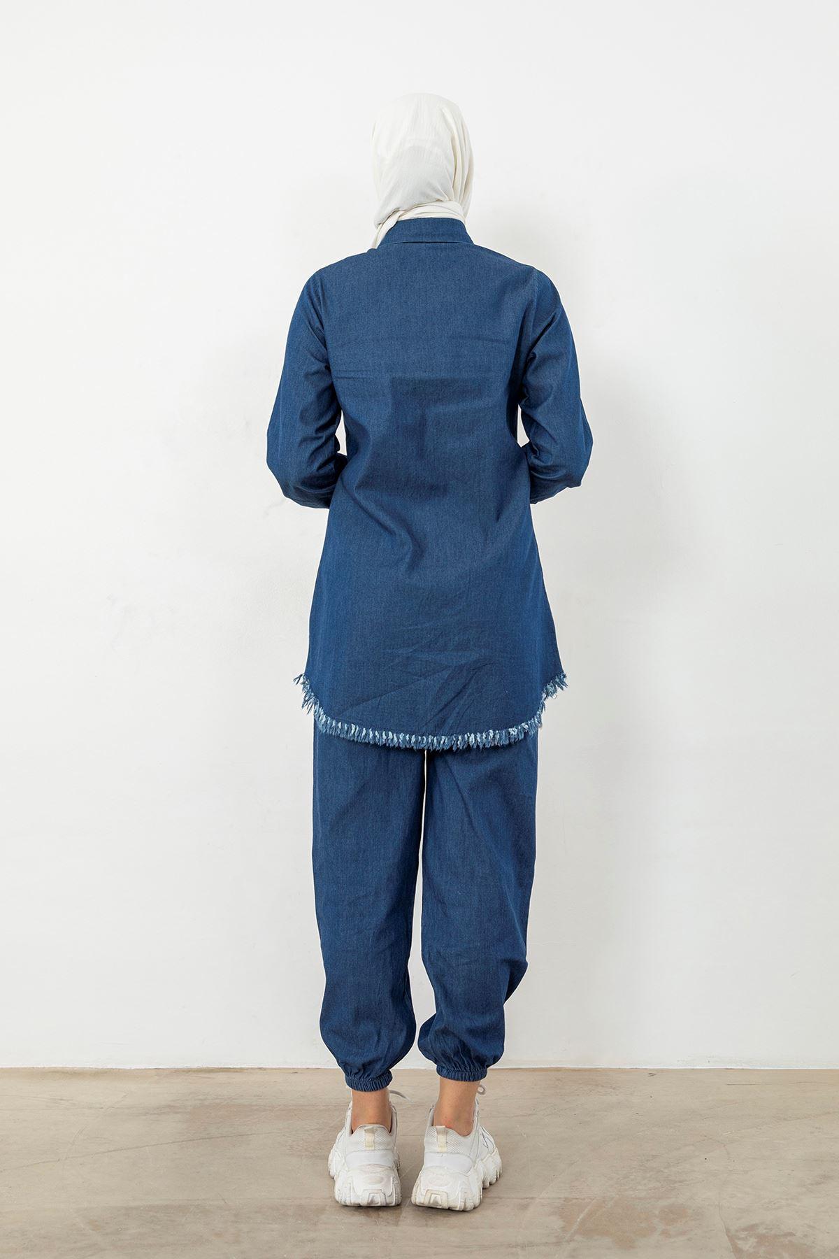 Fringe Detail Denim Tunic-Dark Blue