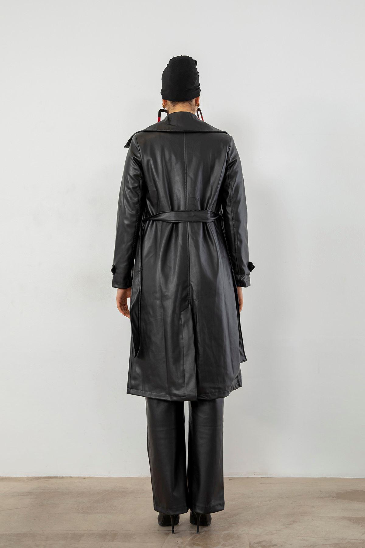 Long Belt Leather Trench Coat-Black