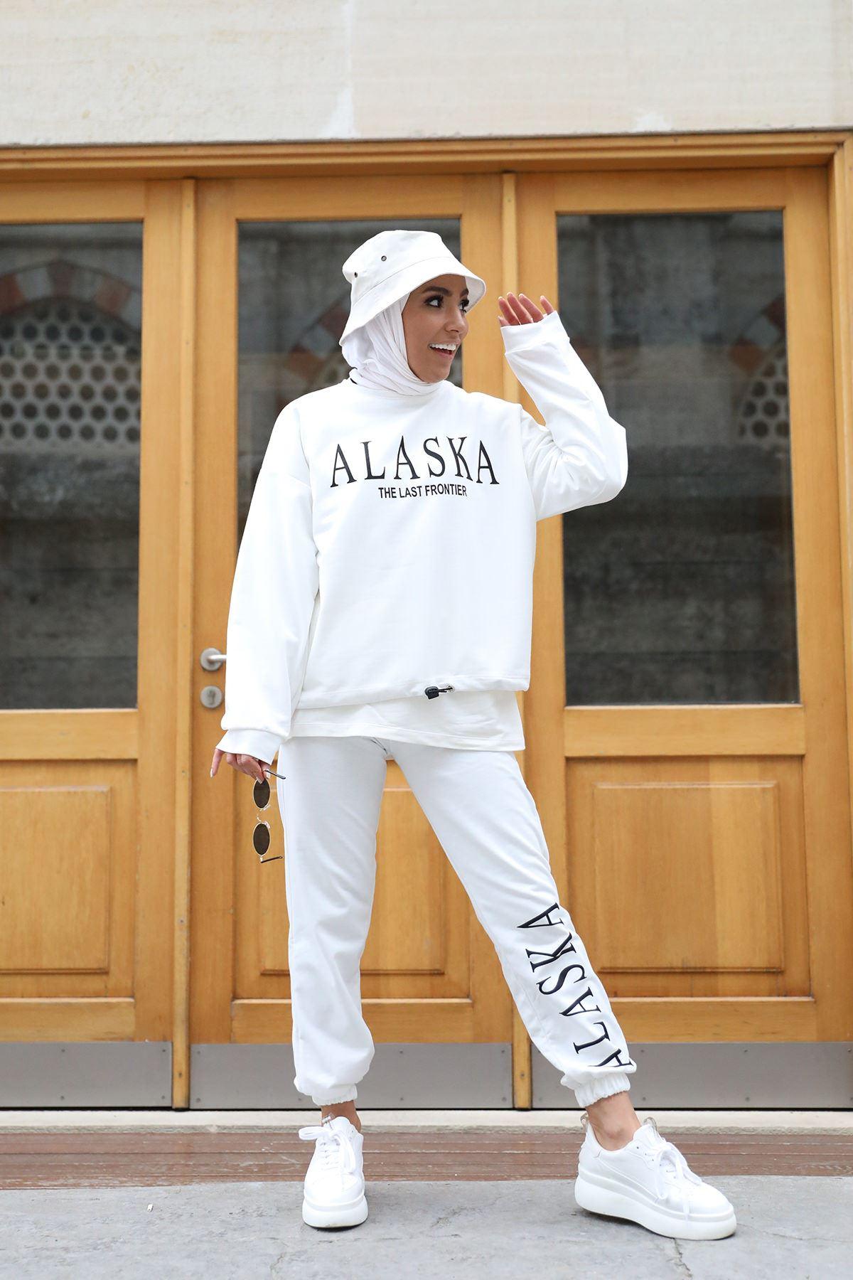 Alaska Baskılı Eşofman Takım-Ekru