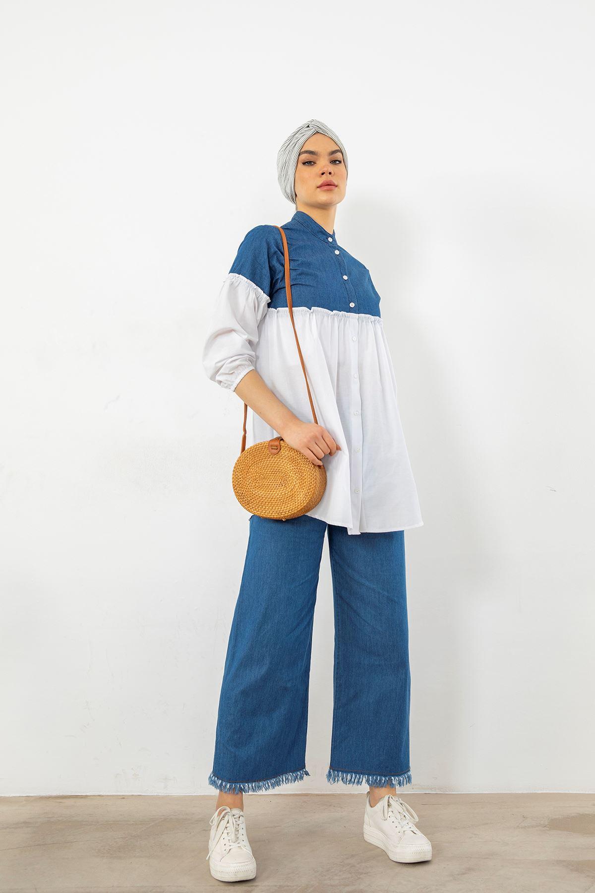 Beli Lastikli Püsküllü Pantolon-Koyu Mavi
