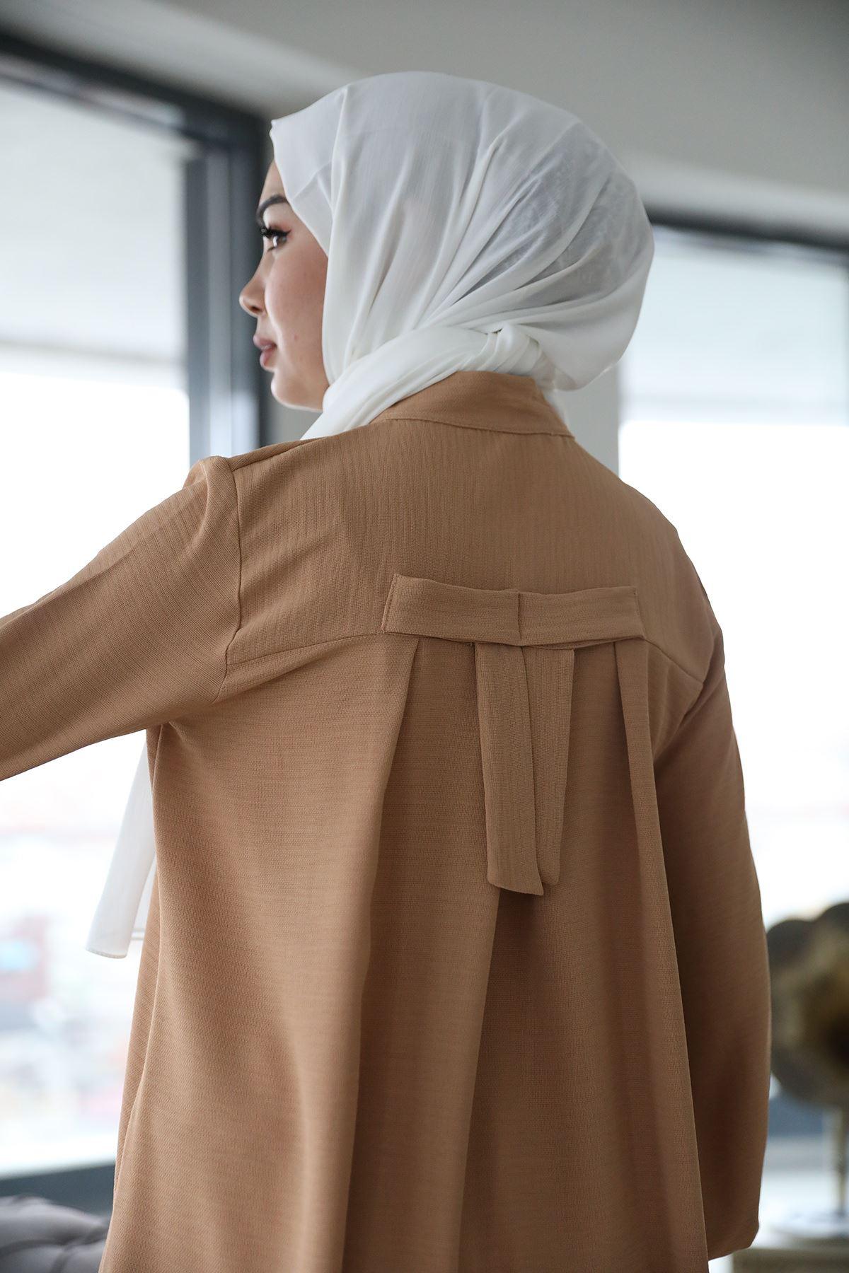 Önü Düğmeli Gömlek-Camel