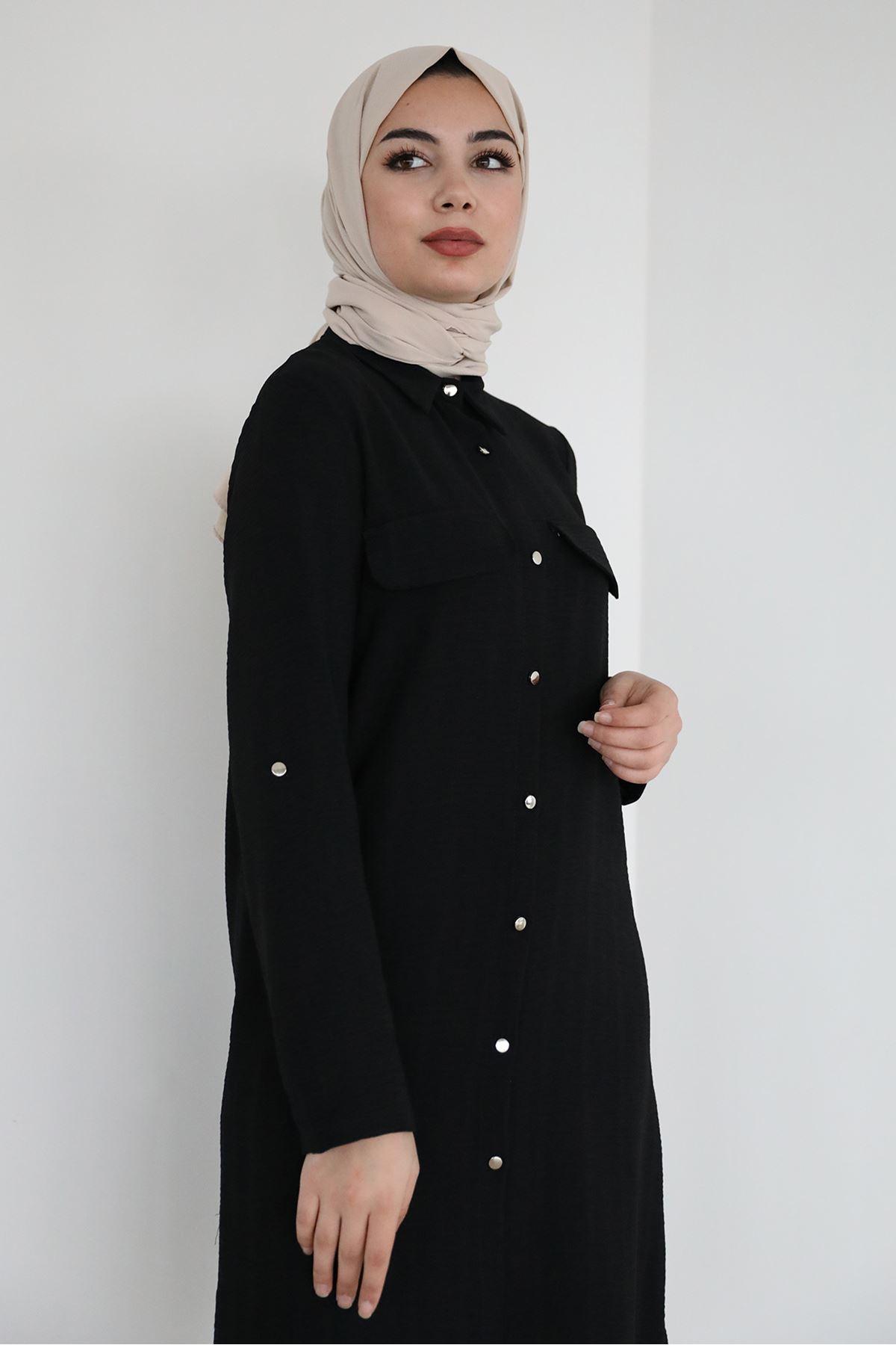 Önü Düğmeli Gömlek-Siyah