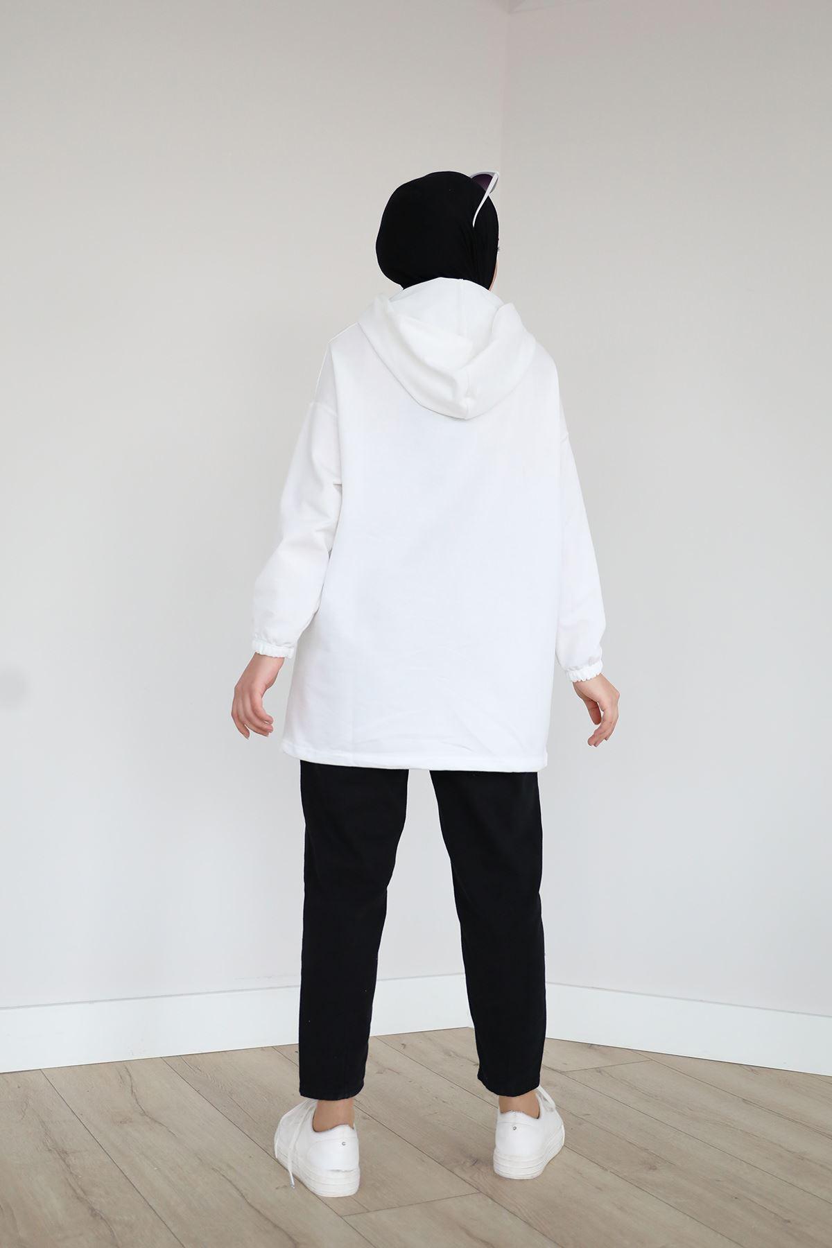 Kanguru Cep Sweatshirt-Ekru