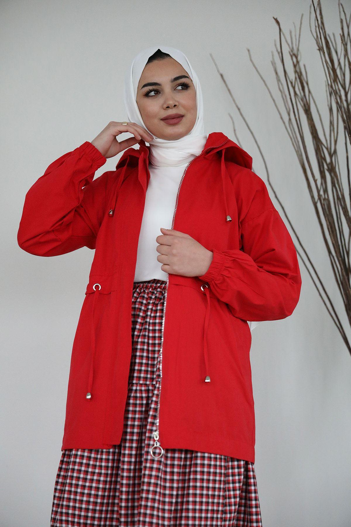 Kapşonlu Trençkot-Kırmızı