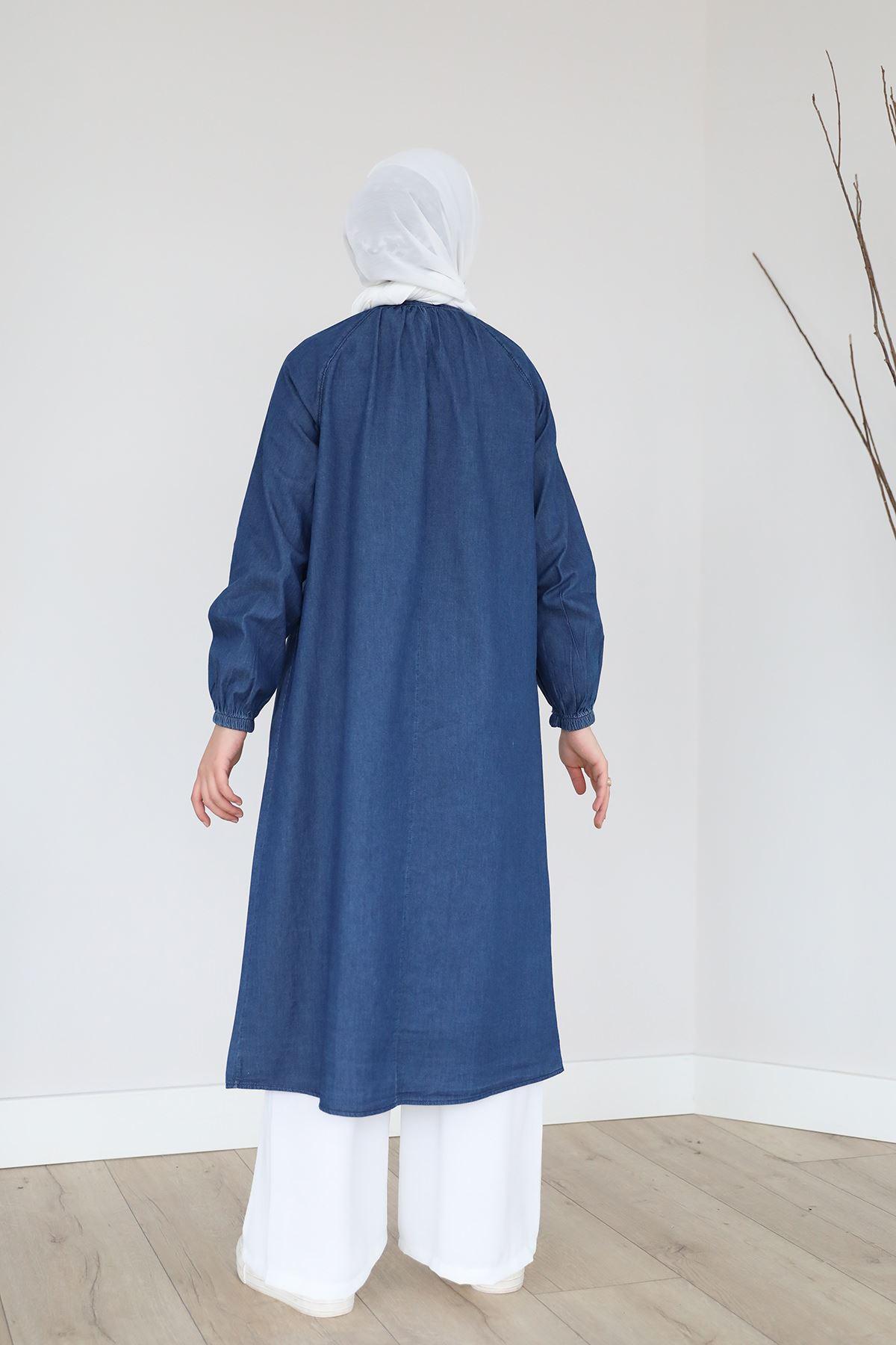 Düğmeli Kot Kap-Koyu Mavi