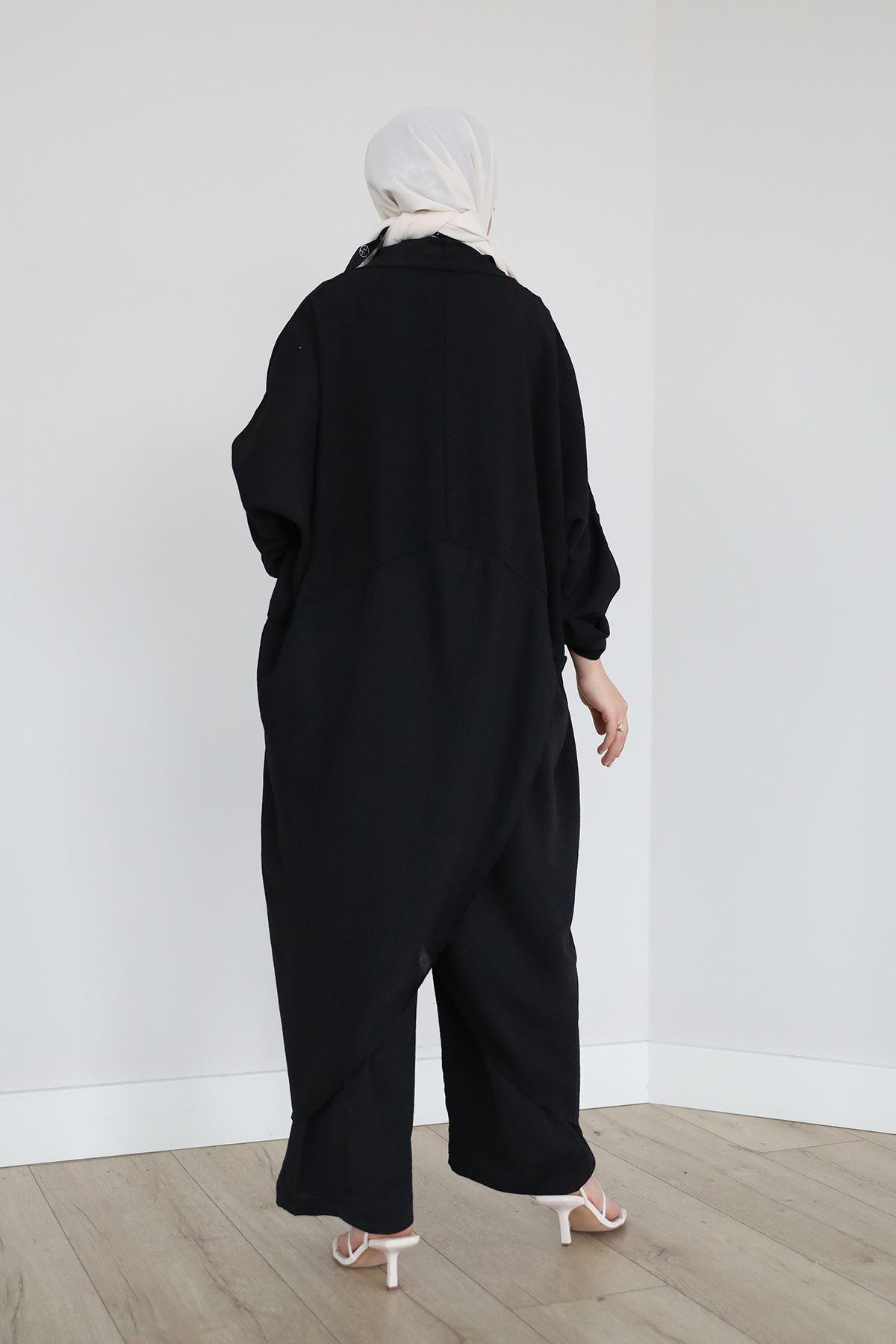 Çapraz Tunik Pantolon Takım-Siyah