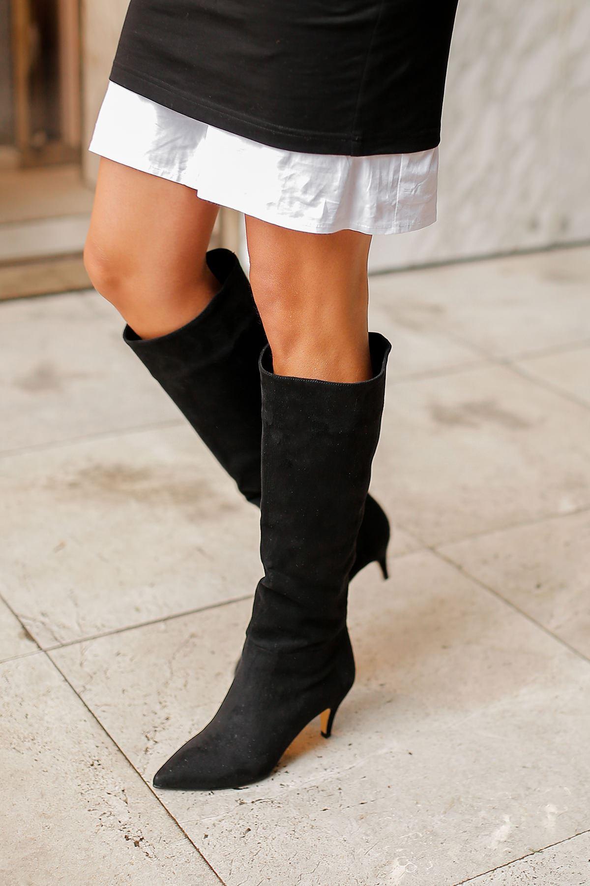 Vanetto Kadın Süet Topuklu Çizme-Siyah