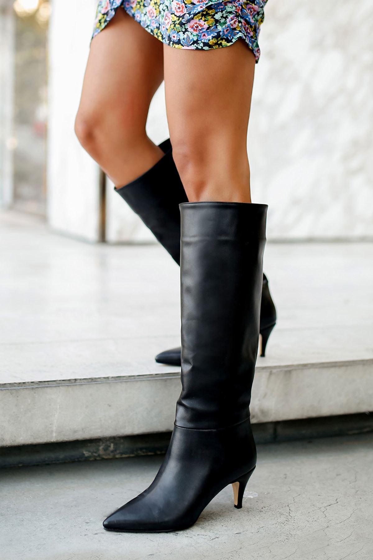 Vanetto Kadın Deri Topuklu Çizme-Siyah