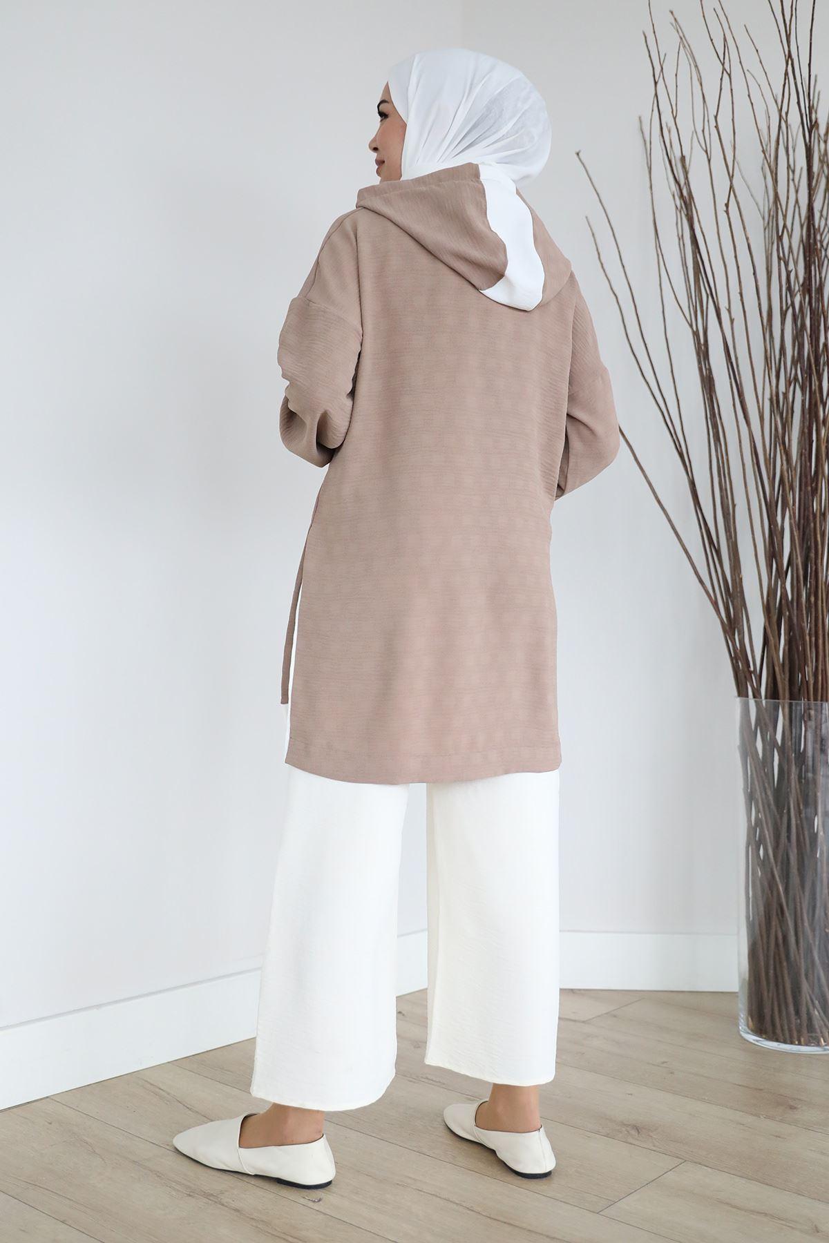 Yan Yırtmaç Detay Sweatshirt-Vizon