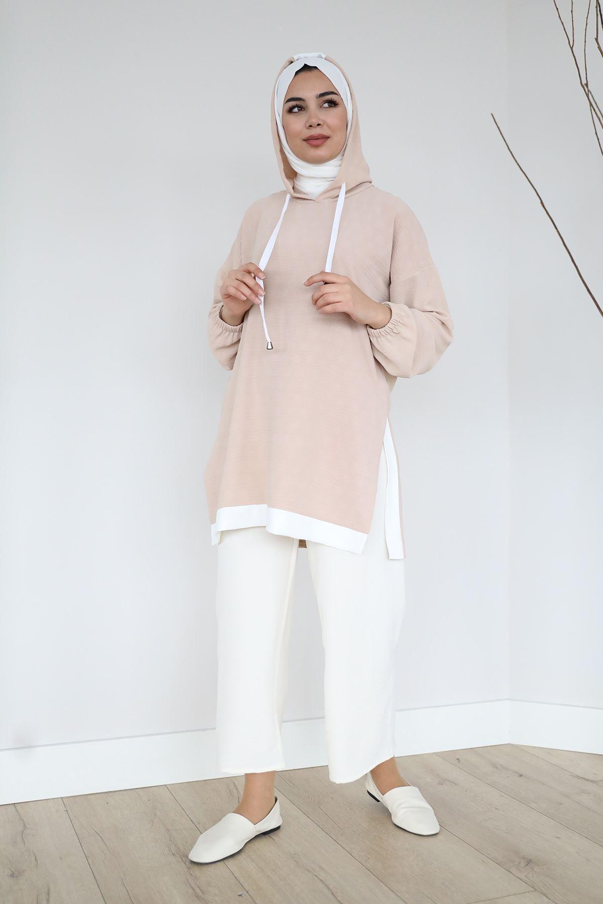 Yan Yırtmaç Detay Sweatshirt-Bej
