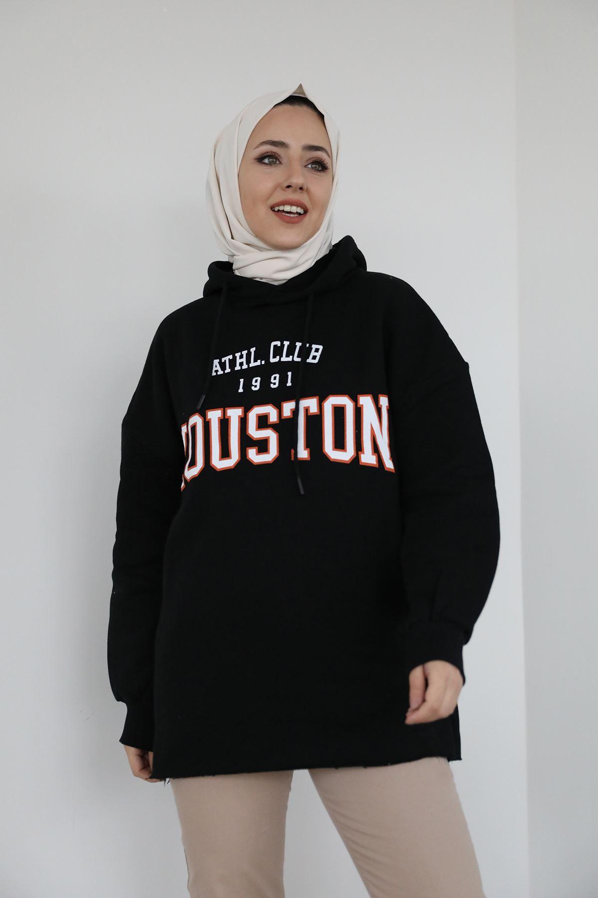 Houston Baskılı Sweatshirt-Siyah