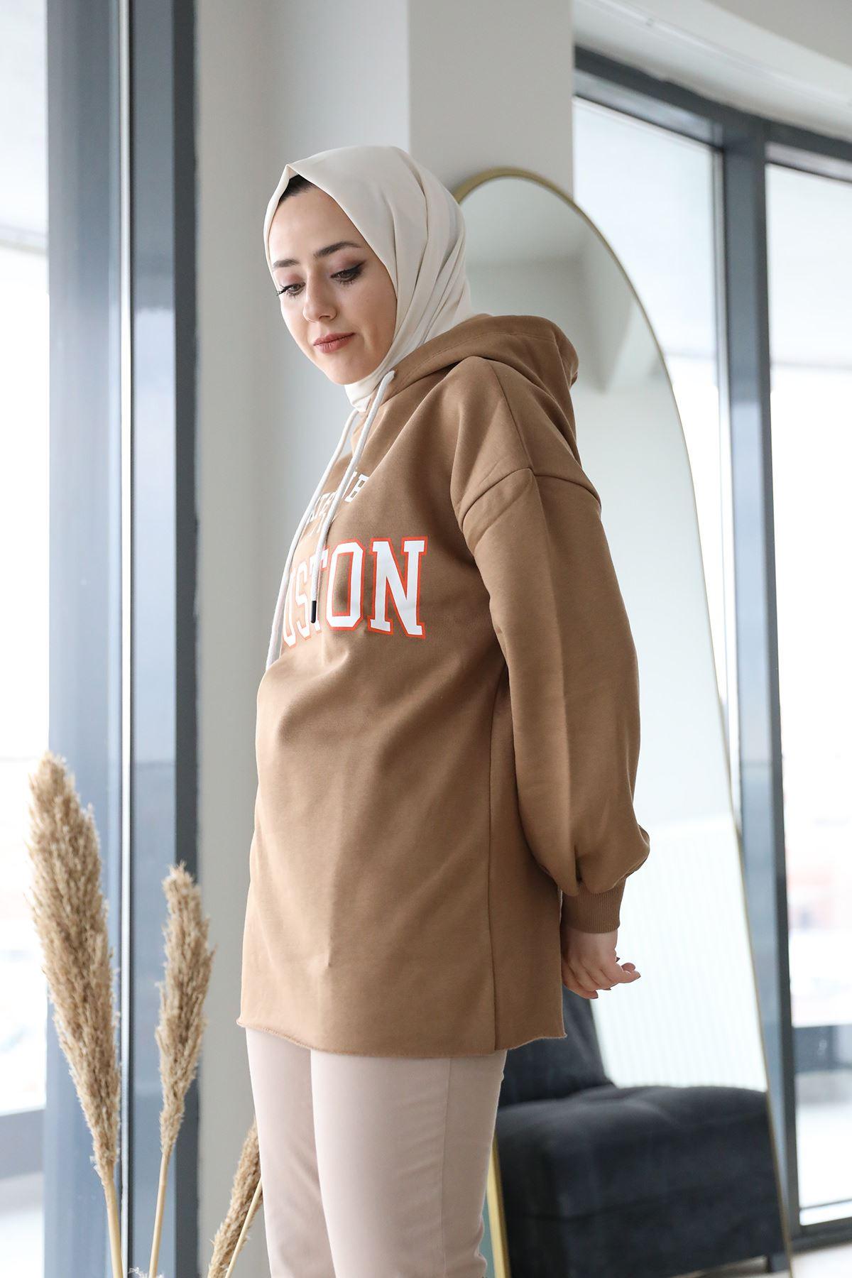 Houston Printed Sweatshirt-Camel