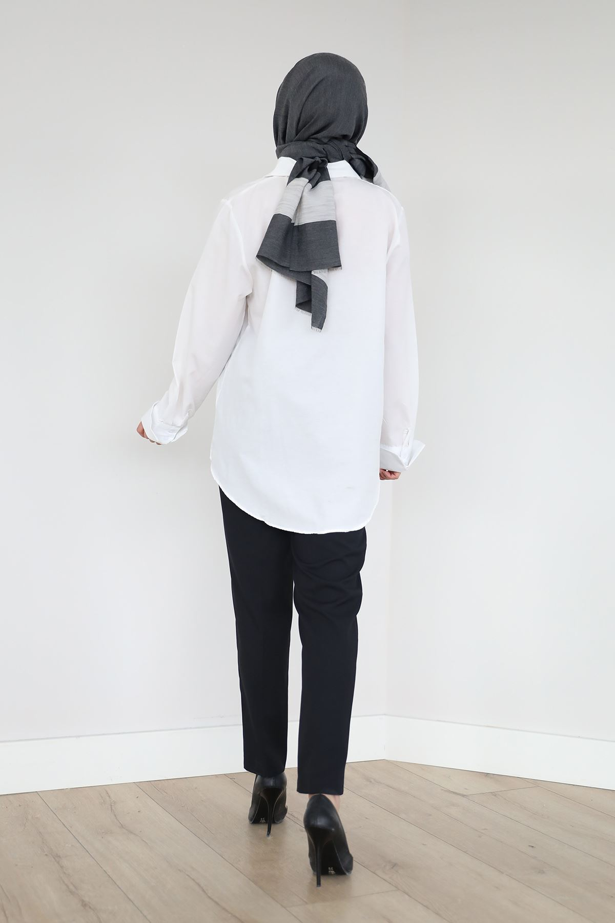 Yüksek Bel Kumaş Pantolon-Siyah