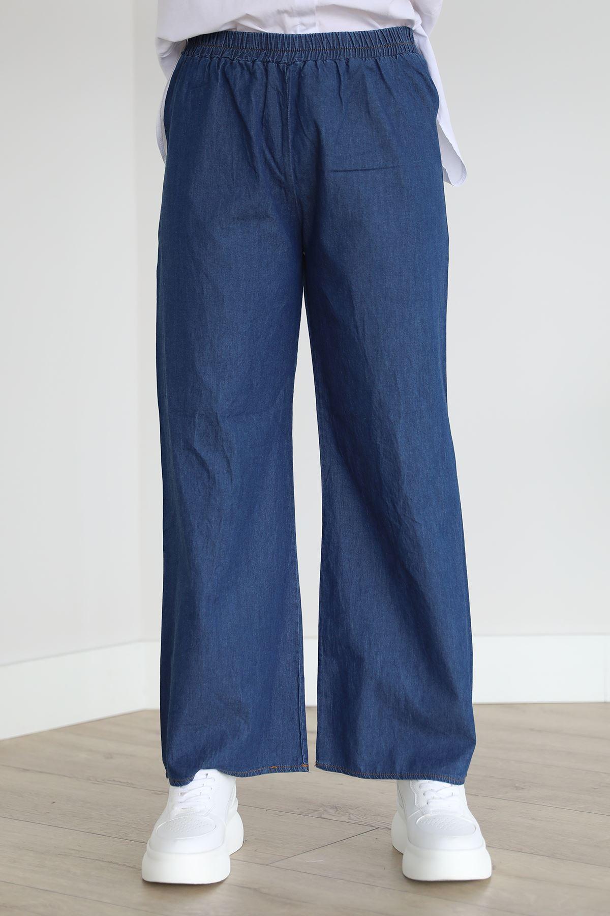 Beli Lastikli Kot Pantolon-Mavi