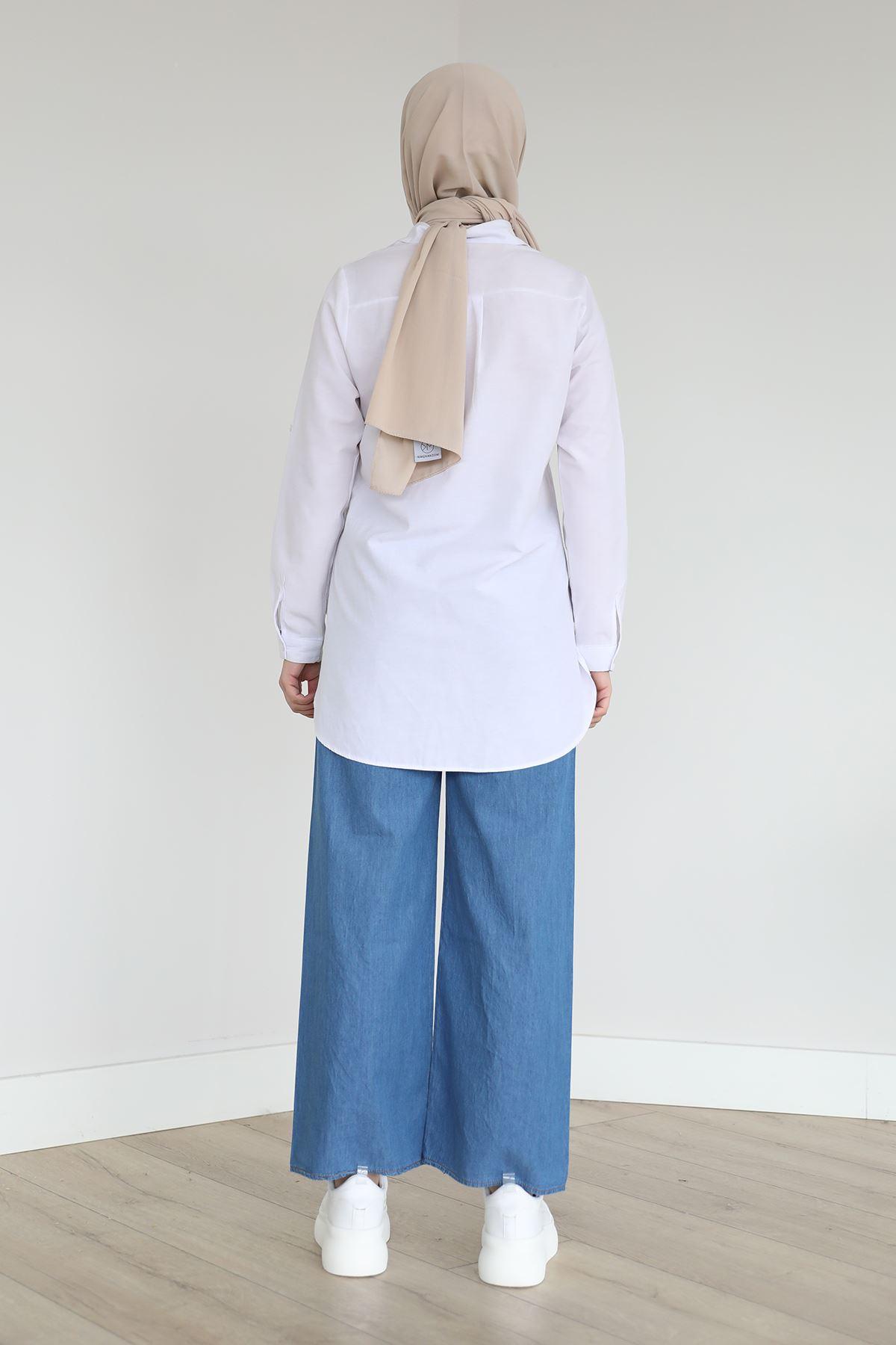 Elastic Waist Jeans-Dark Blue