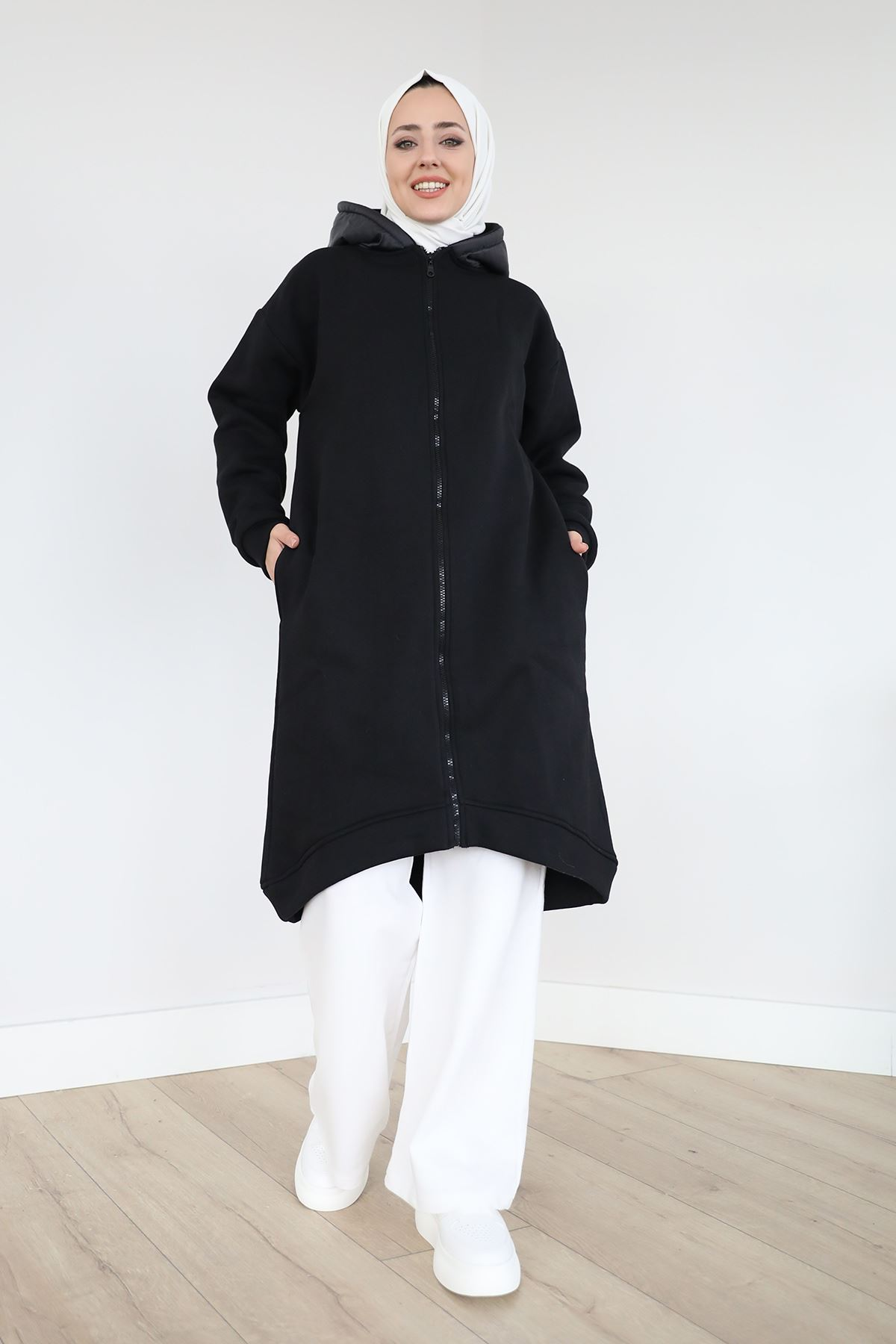 Kapşonlu Uzun Sweatshirt-Siyah