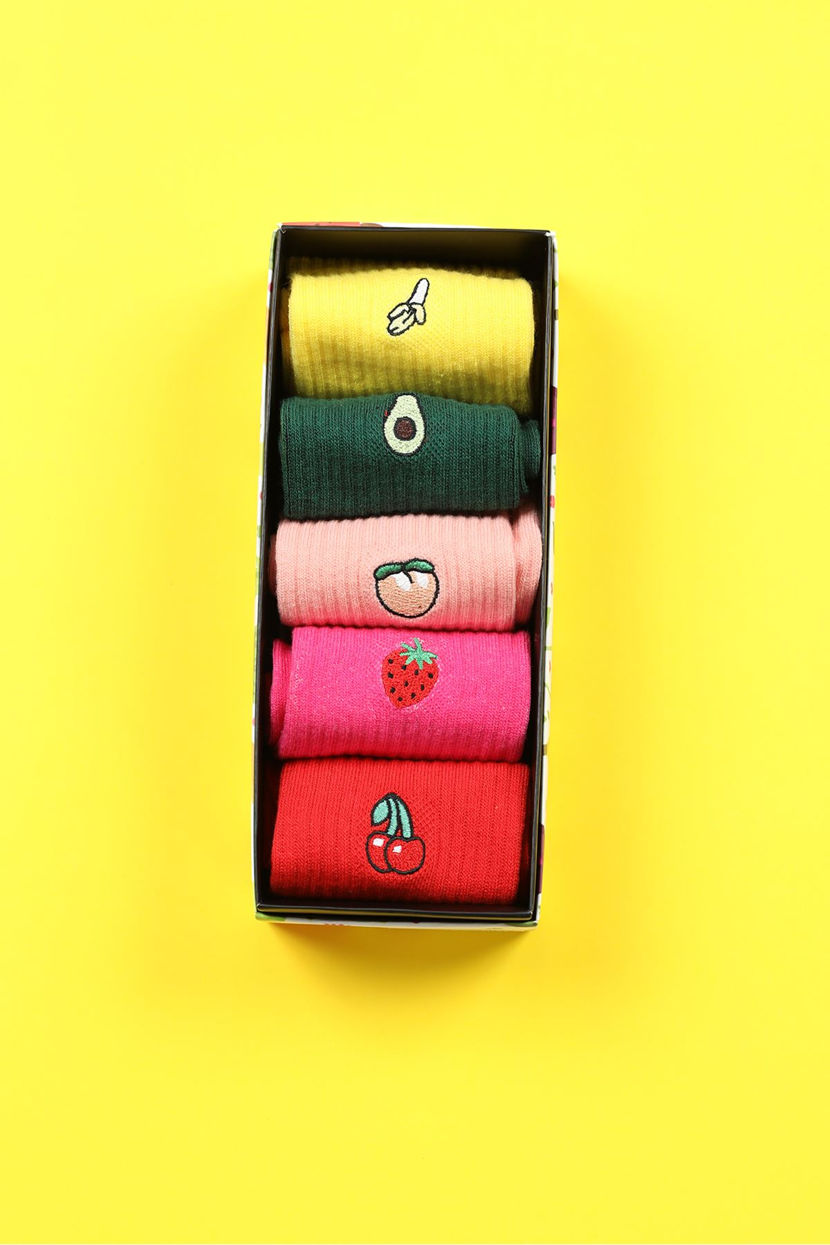 5'li Kutu Çorap-Renkli