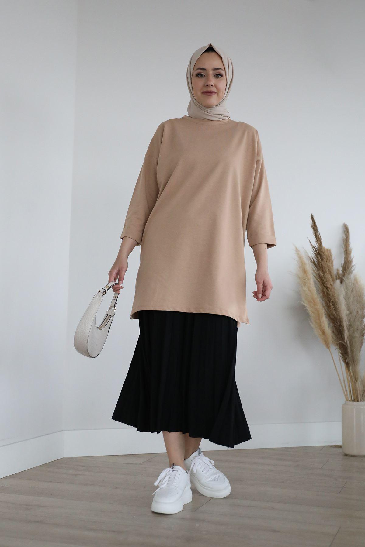 Elastic Waist Pleated Skirt-Black