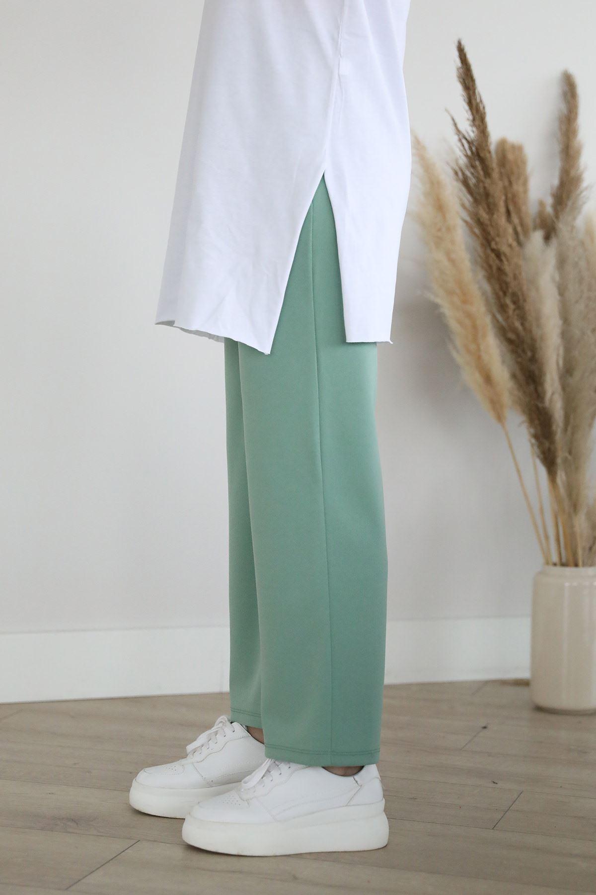 Cep Detaylı Pantolon-Mint