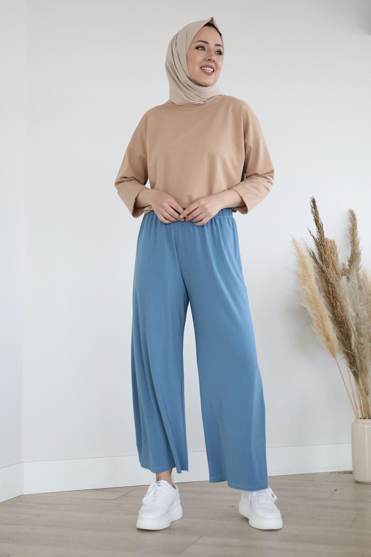 Lastikli Salaş Sendy Pantolon-İndigo