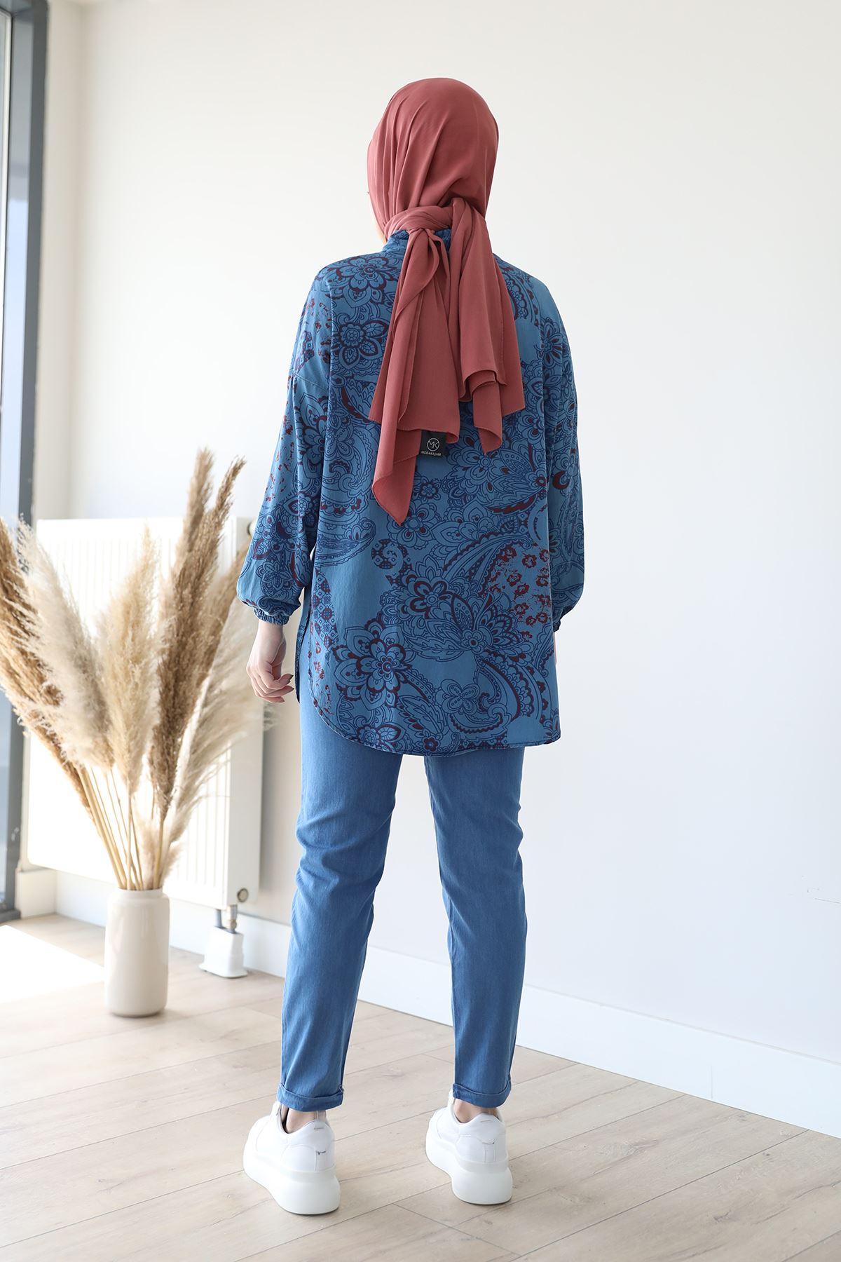 Paça Katlamalı Pantolon-Mavi