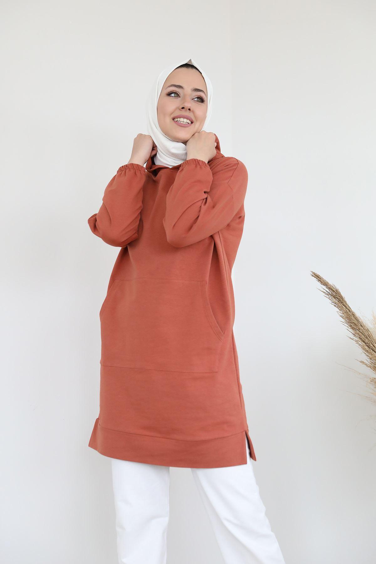 Cep Detay Kapşonlu Sweatshirt-Taba