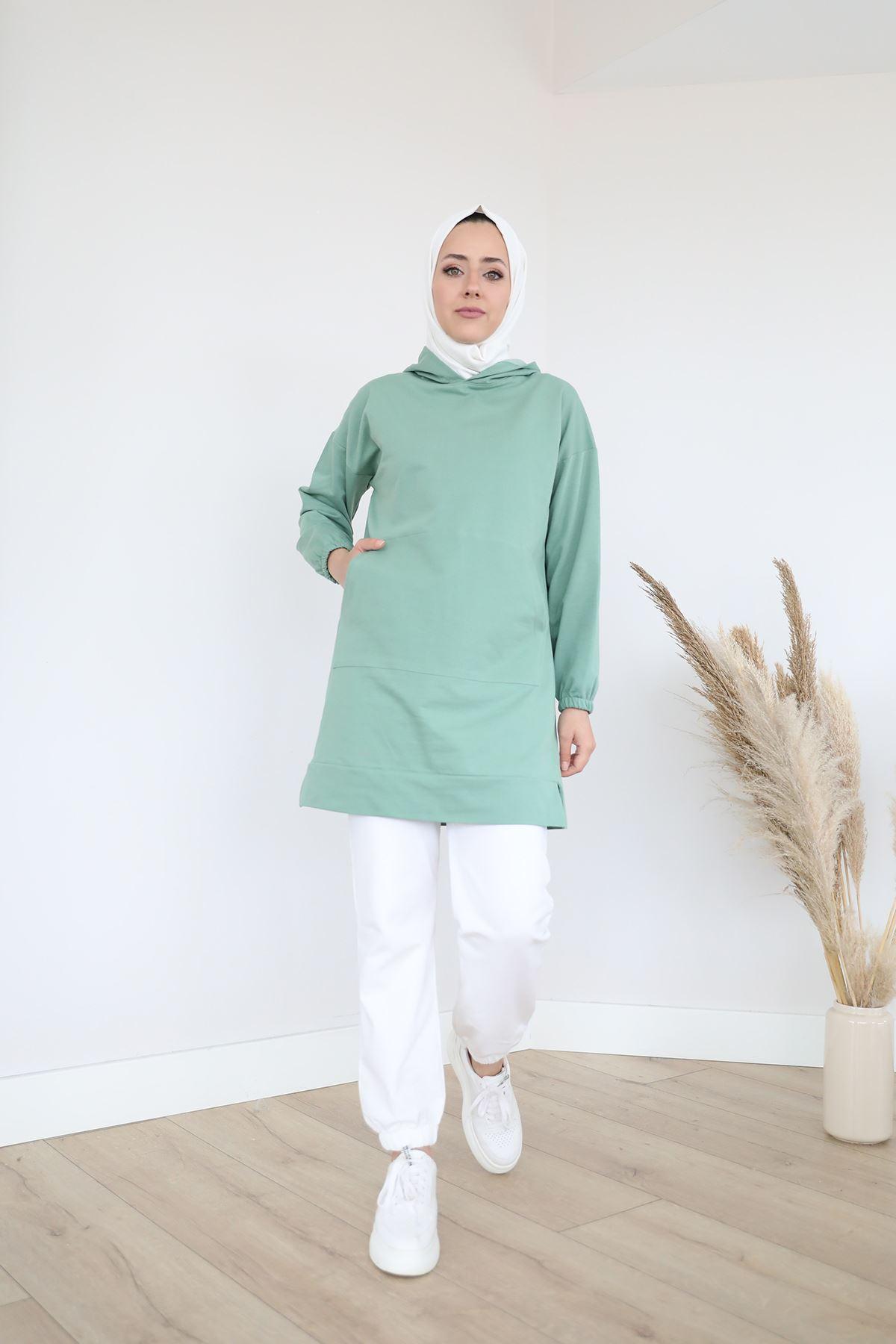 Cep Detay Kapşonlu Sweatshirt-Mint