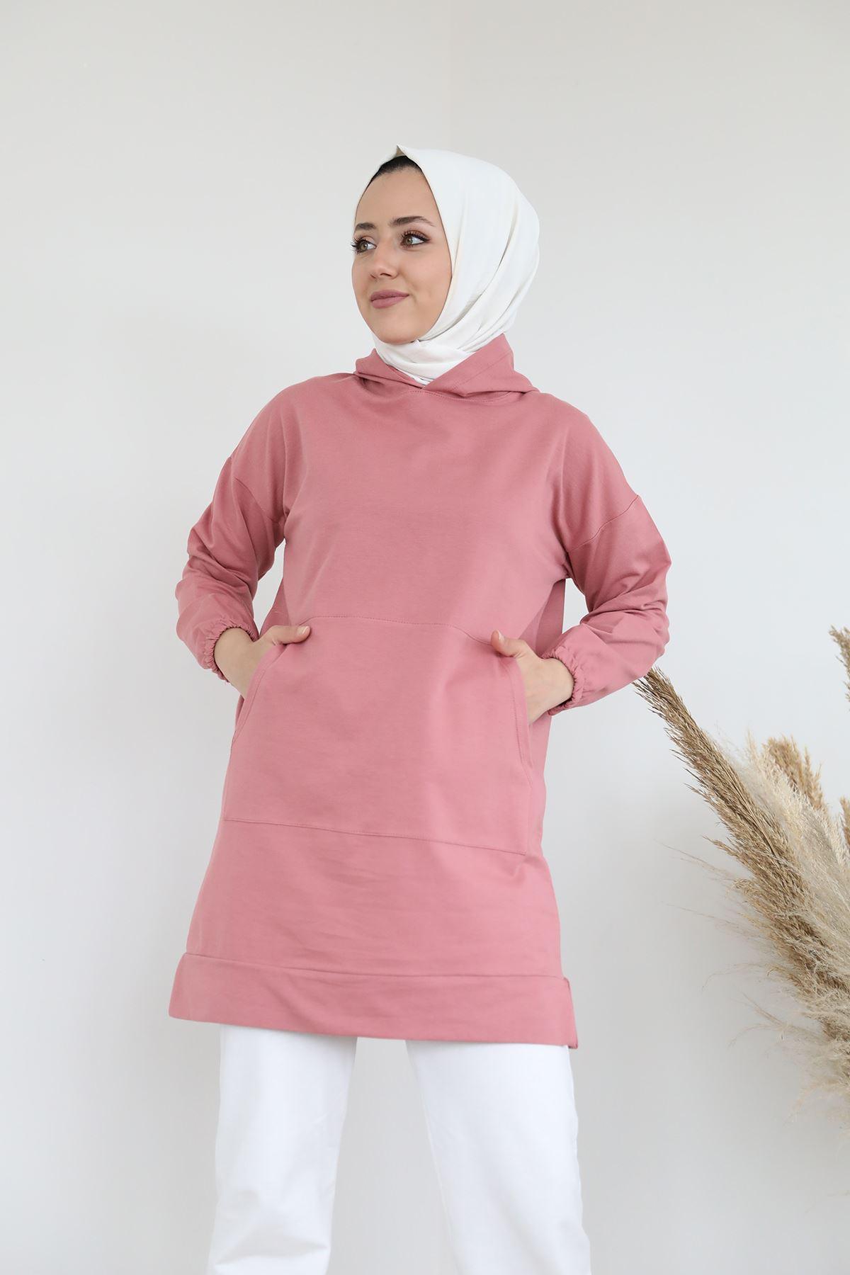 Cep Detay Kapşonlu Sweatshirt-Gül Kurusu