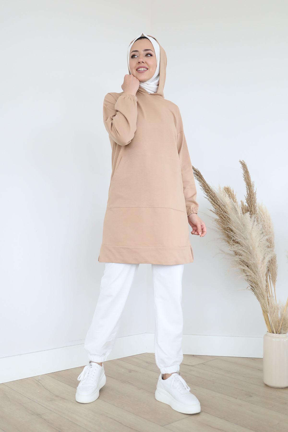 Pocket Detail Hooded Sweatshirt-Beige