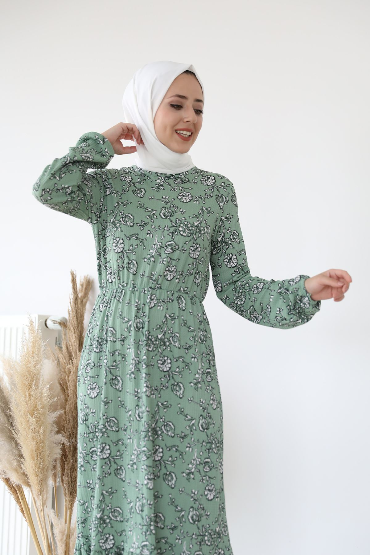 Eteği Fırfırlı Elbise-Mint