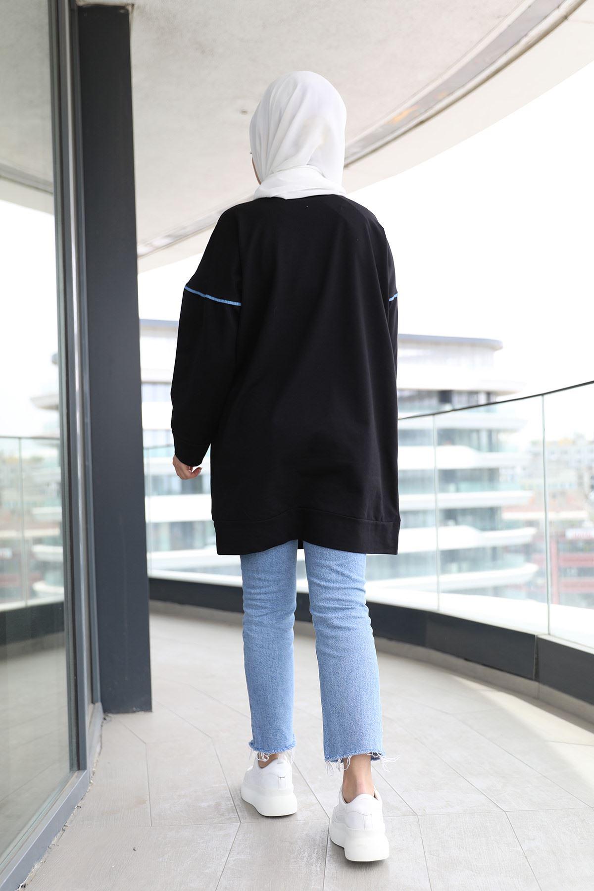 Kot Detay Tunik-Siyah