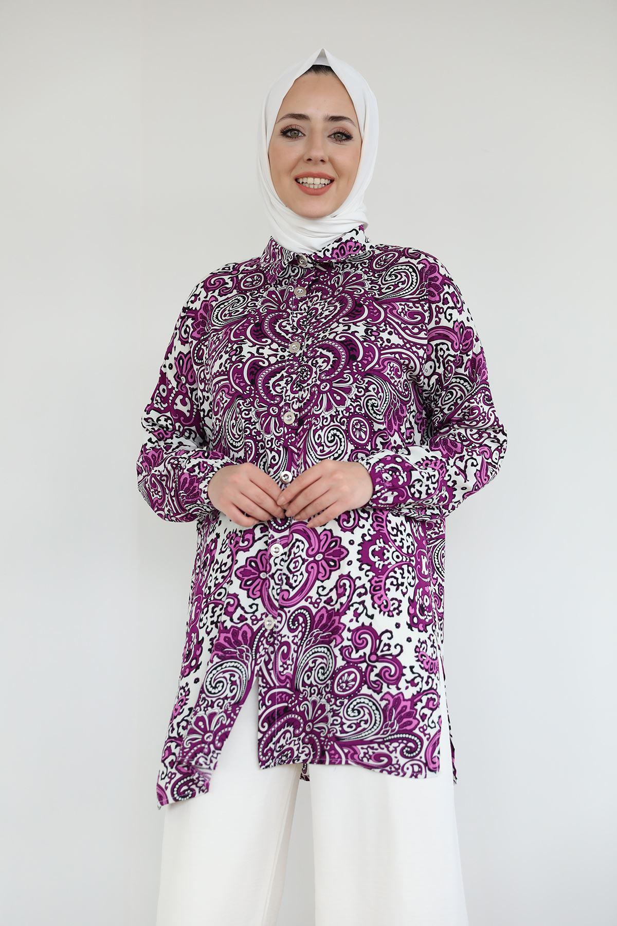 Şal Desen Gömlek-Mor