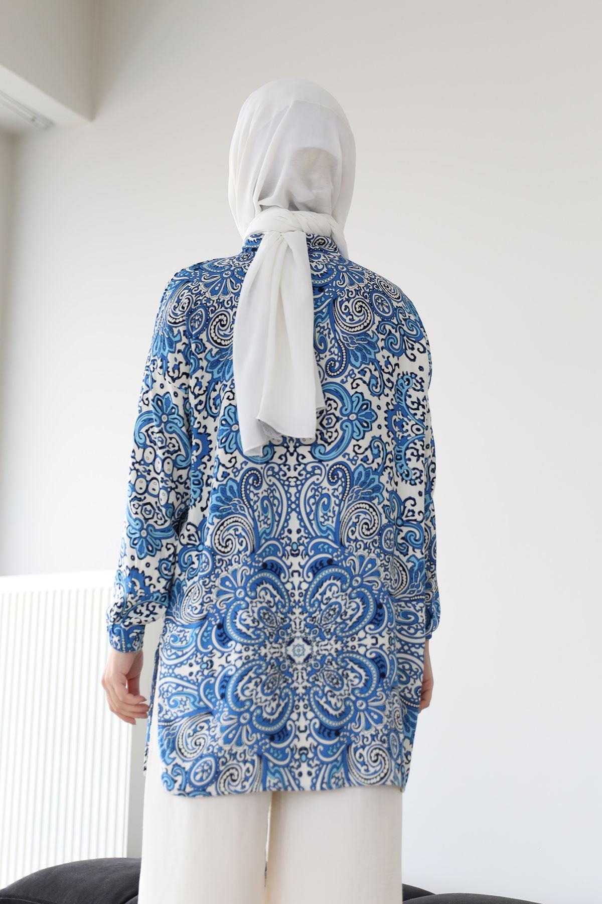 Şal Desen Gömlek-Saks