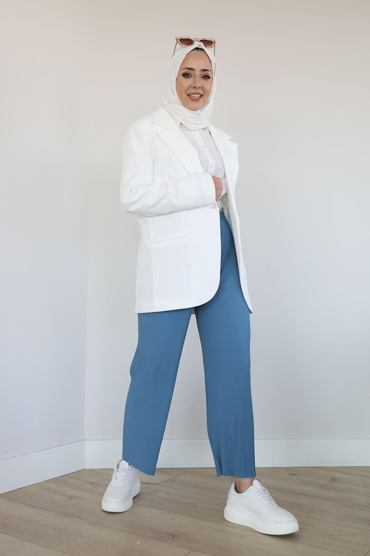 Piliseli Pantolon-Mavi