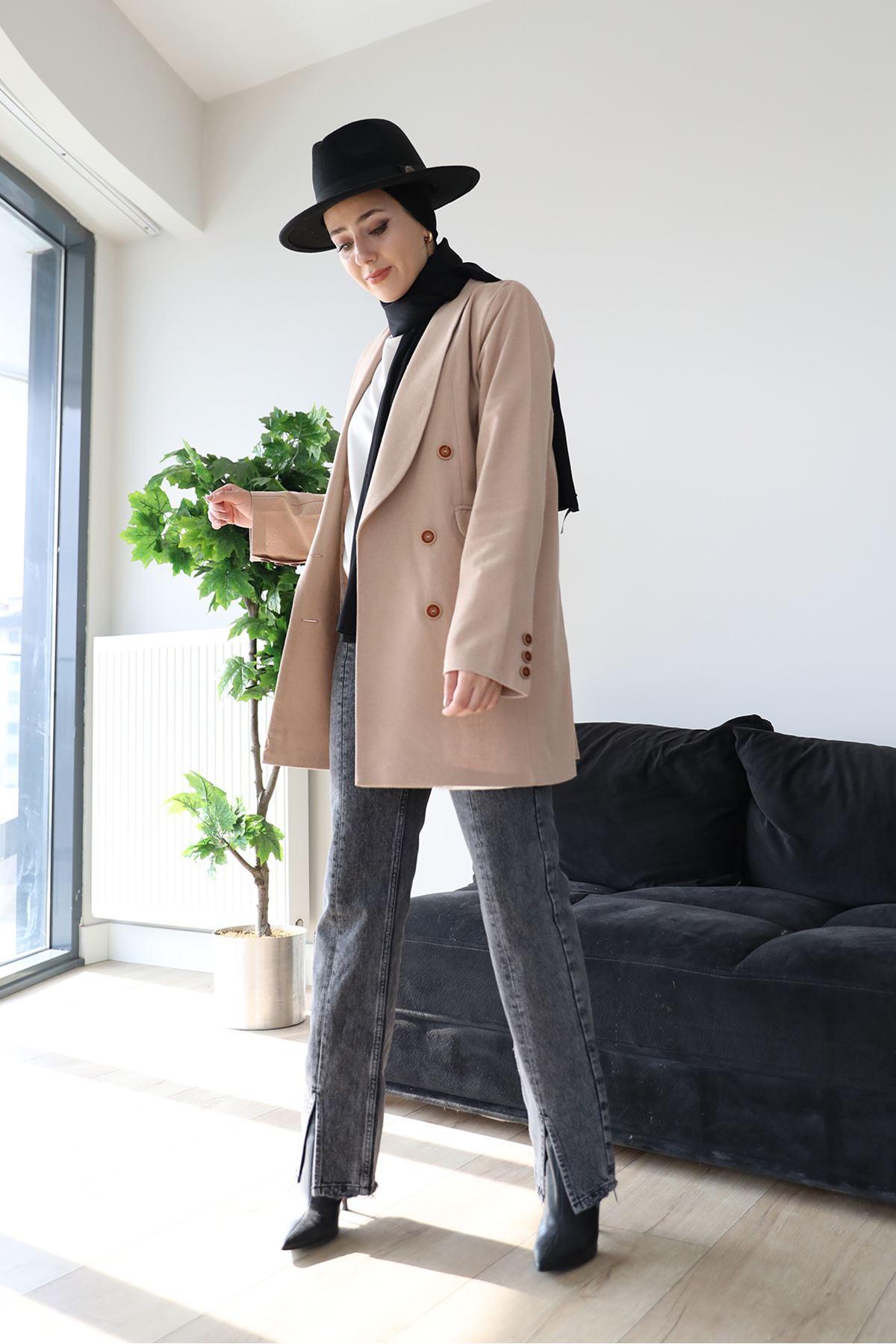 Paça Detay Mom Jean Pantolon-Koyu Gri