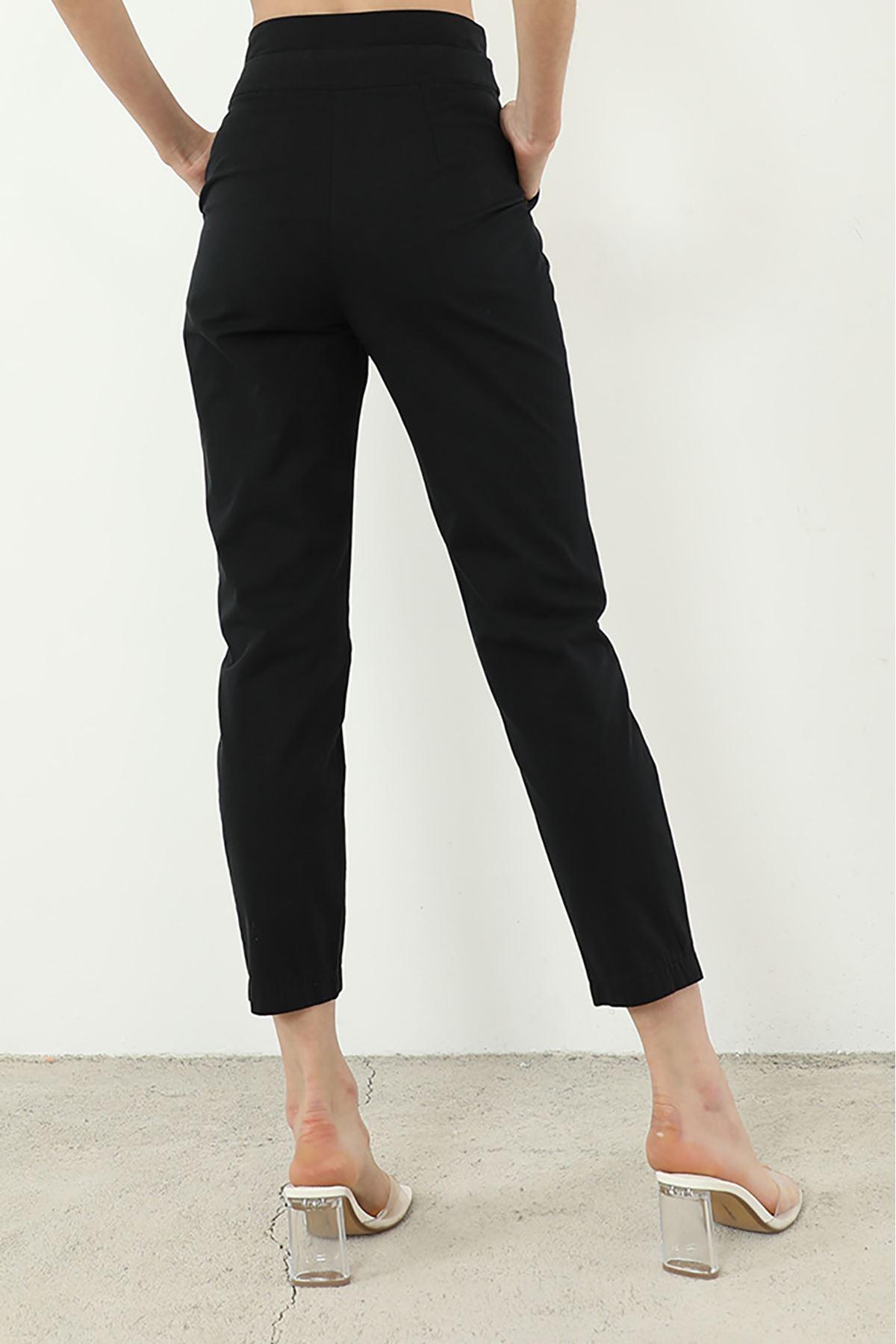 Kemer Detaylı Pantolon-Siyah