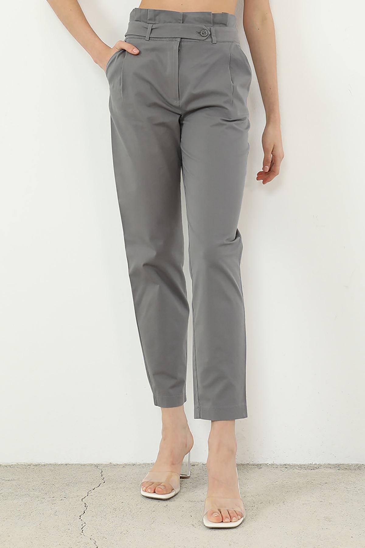 Kemer Detaylı Pantolon-Gri