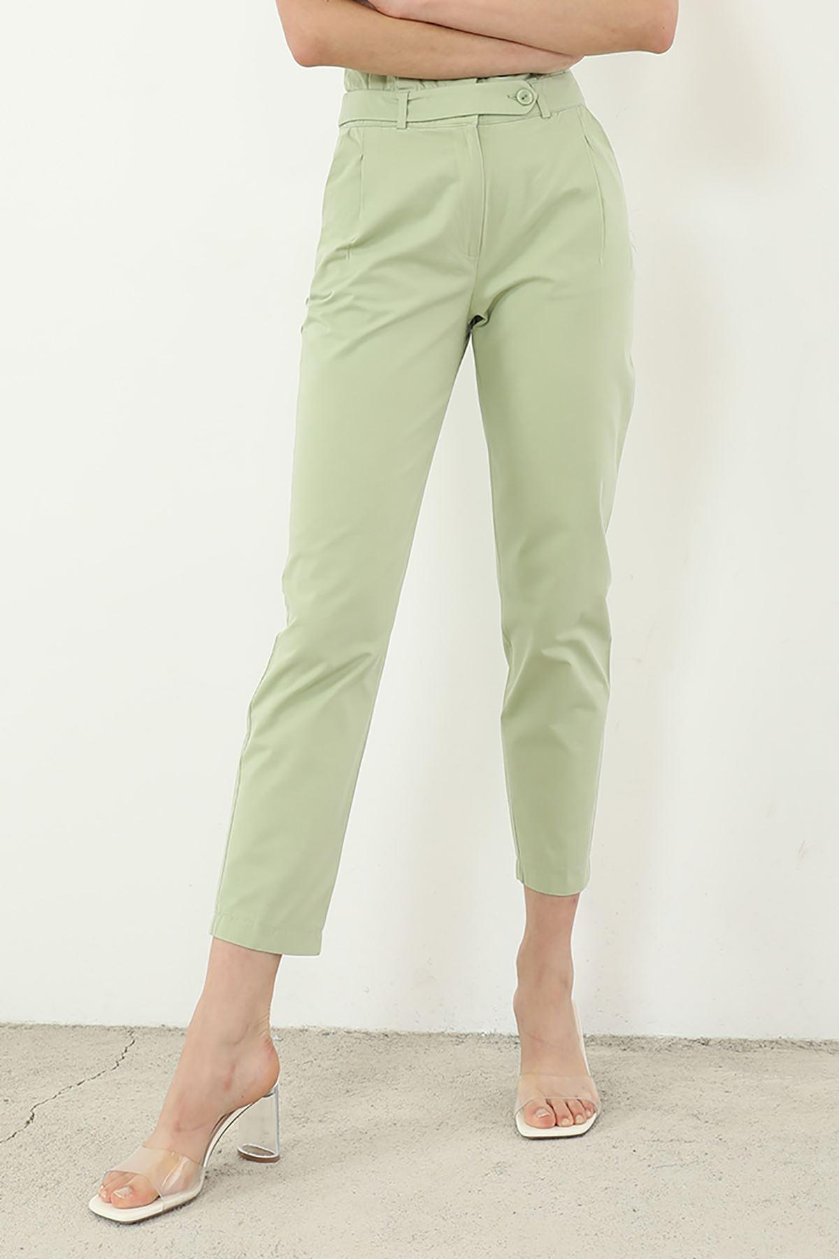 Kemer Detaylı Pantolon-Mint