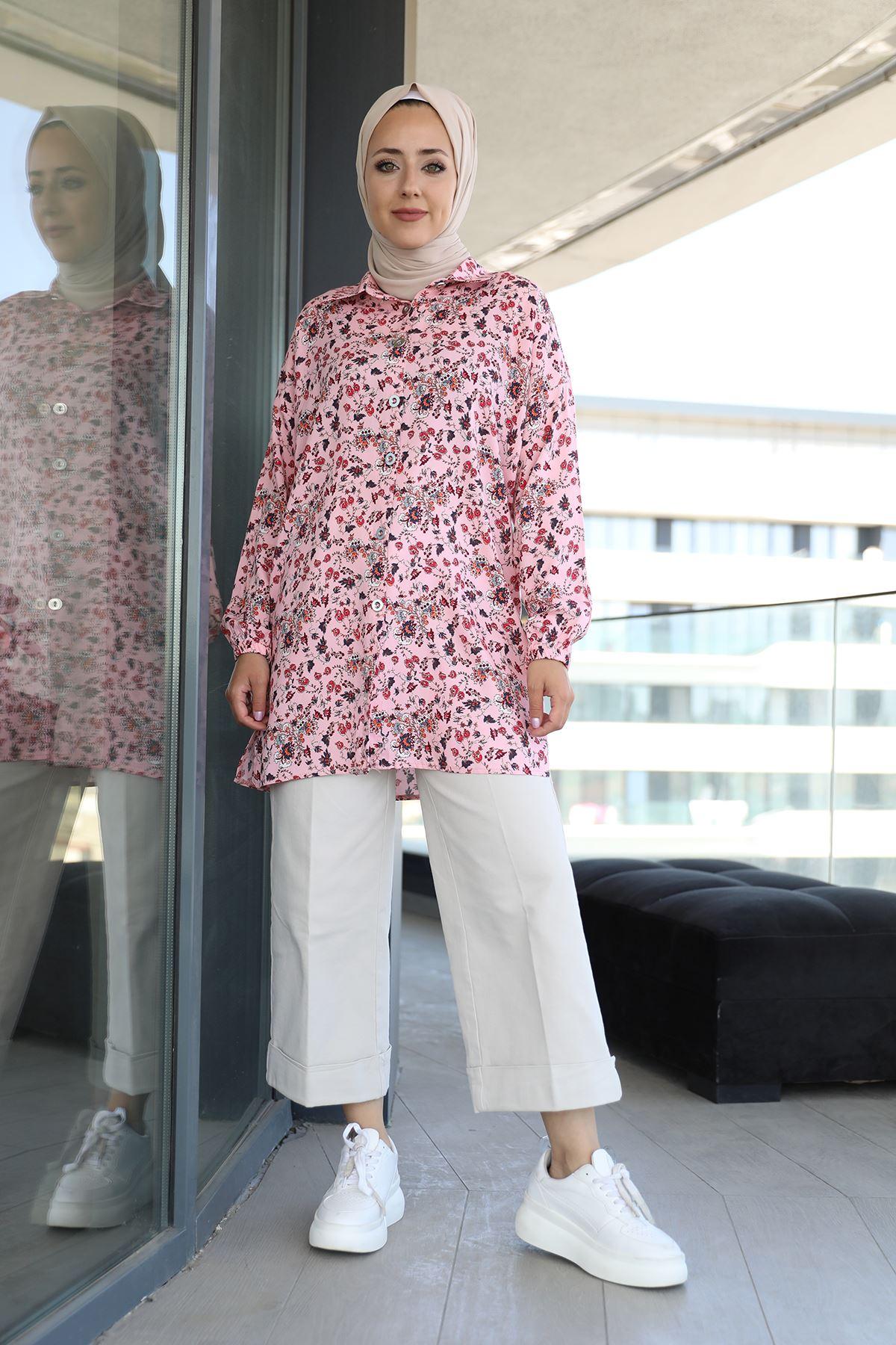 Şal Desen Gömlek-Pudra