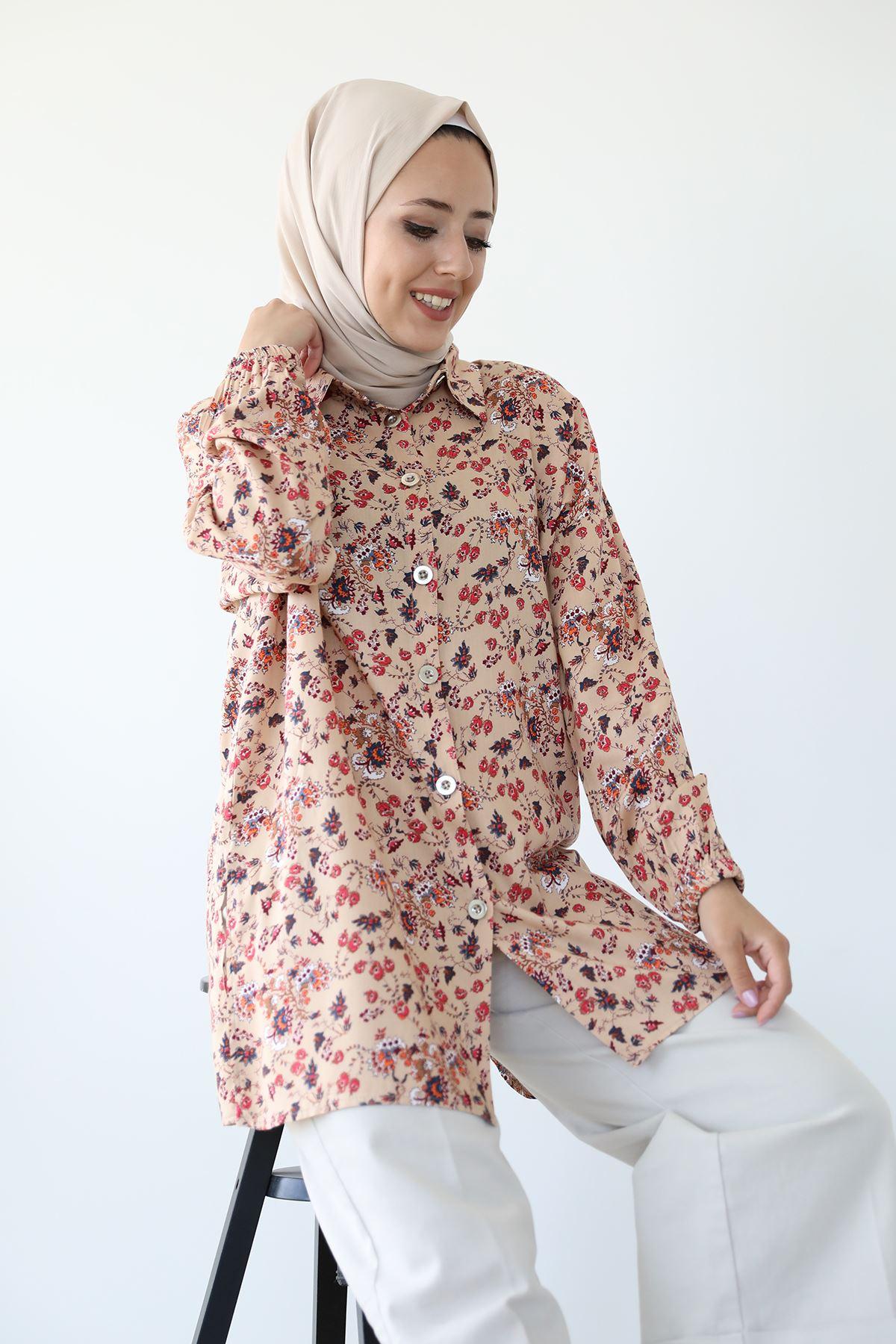Şal Desen Gömlek-Bej