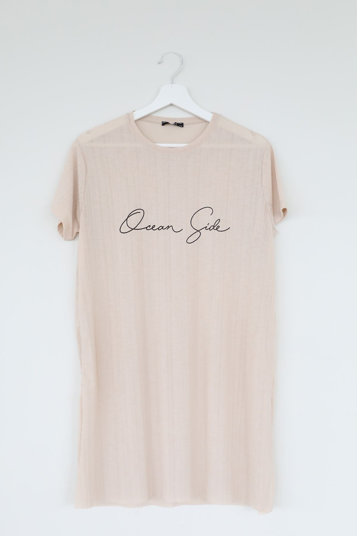Dream Side Baskılı T-shirt-Bej