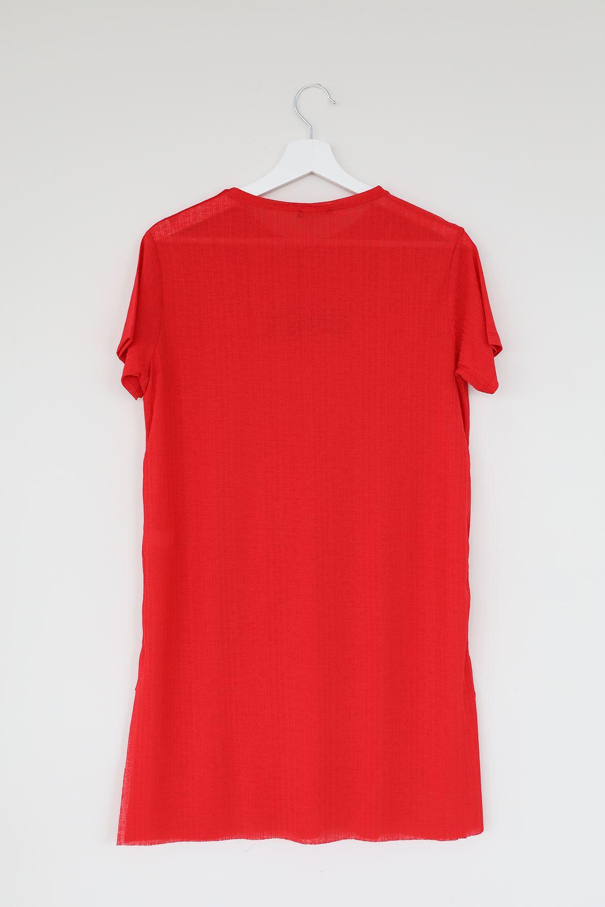 Ases Baskılı T-shirt-Kırmızı