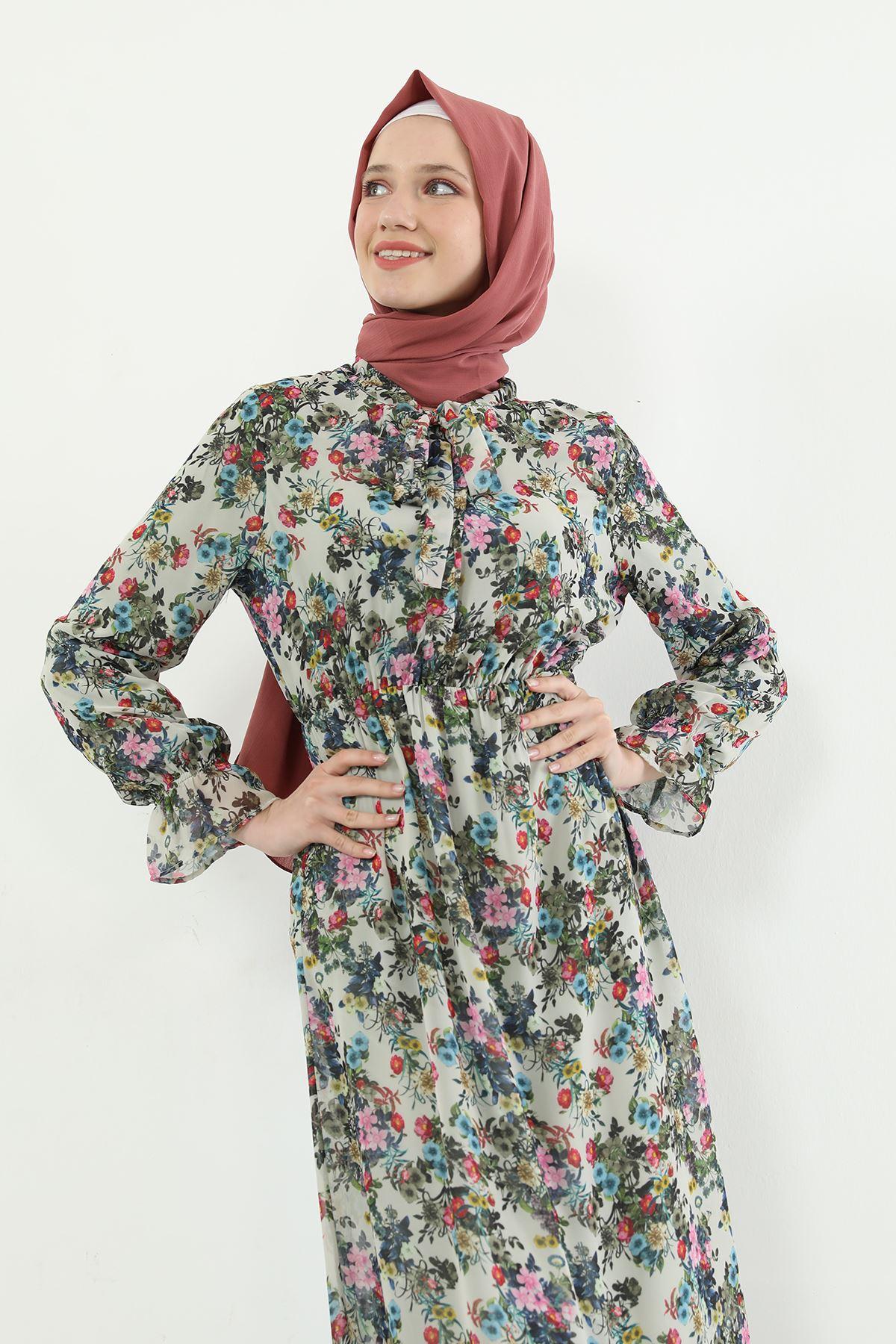 Çiçek Desen Şifon Elbise-Ekru